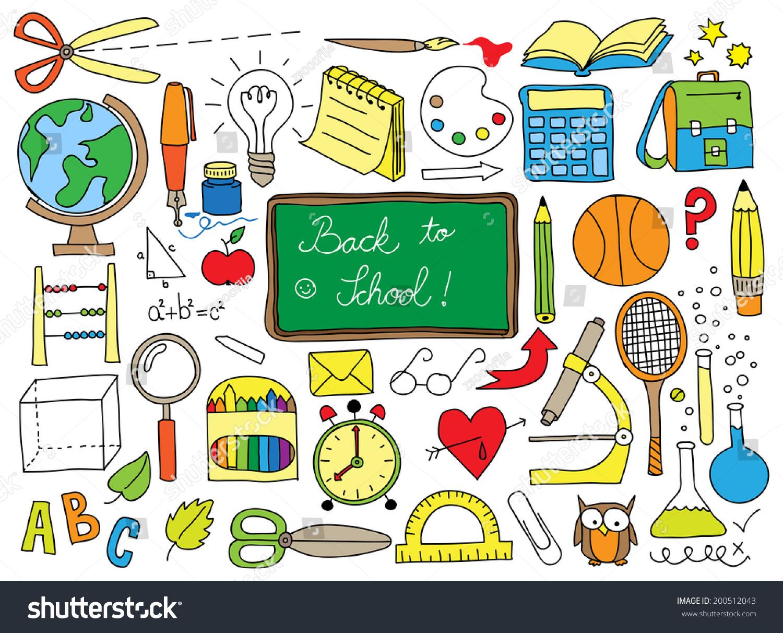 Back School Doodle Set Stock Illustration 200512043 - Shutterstock