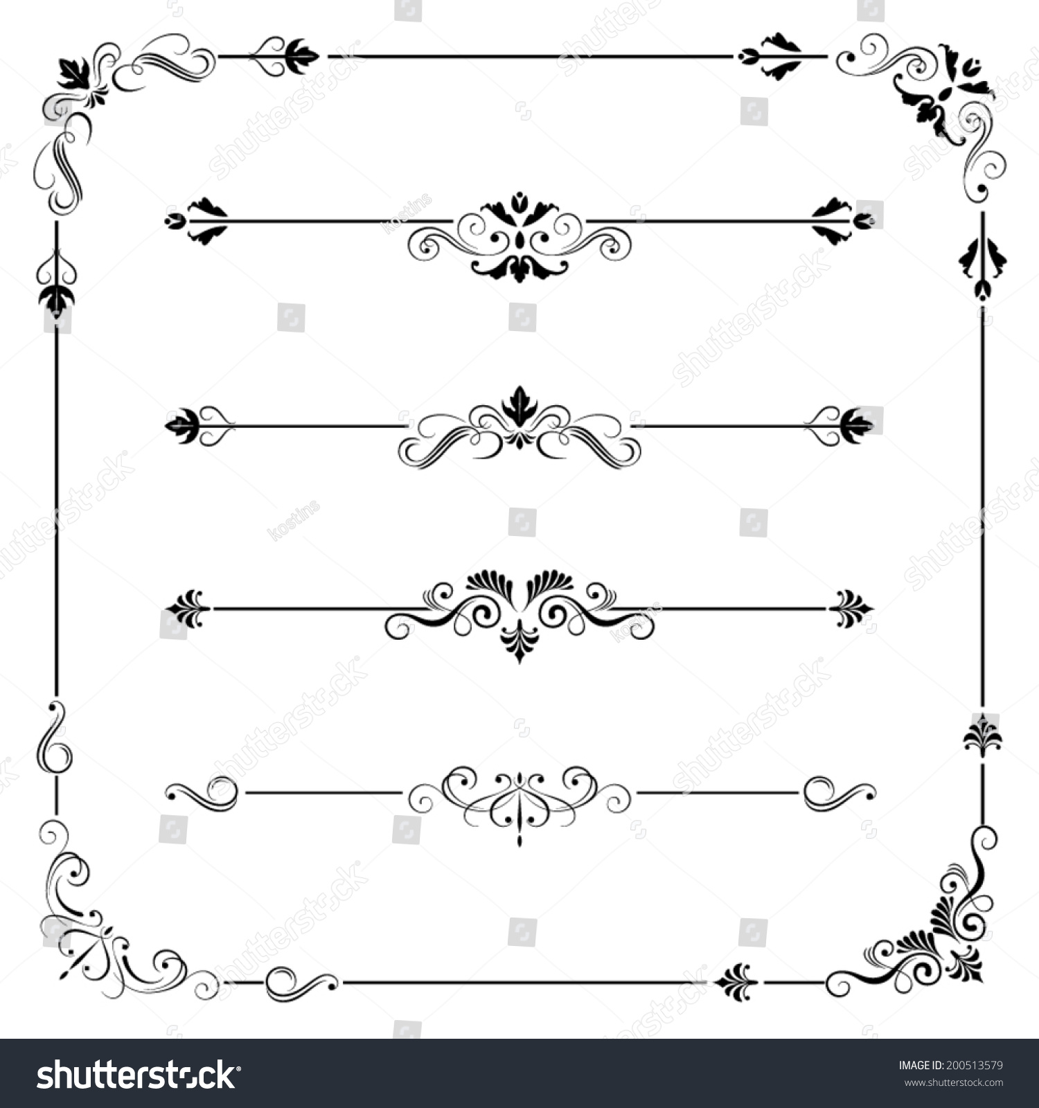 Set Of Vintage Vector Frame Border Divider Corner Retro Elements Collection Ornate Page Decor For Calligraphy Design Stock Photo