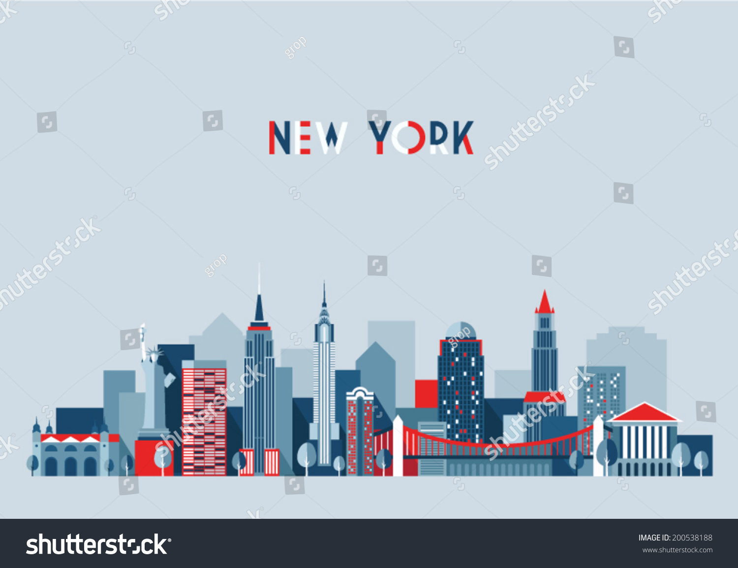 New york city architecture vector illustration skyline for Flat architecture design