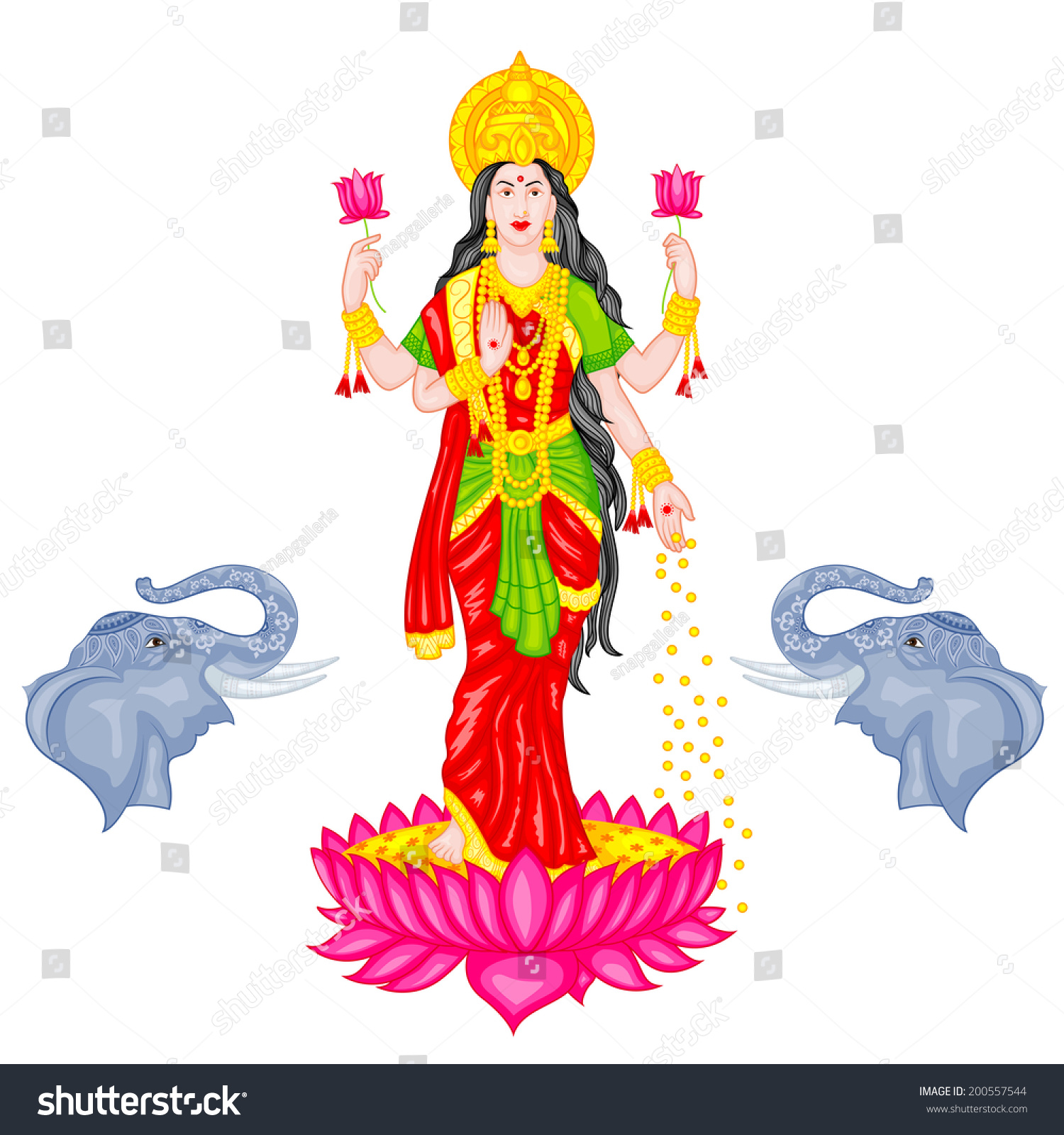 Easy Edit Vector Illustration Goddess Lakshmi Stock Vector Royalty Free 200557544 Temple elephant of southern india. https www shutterstock com image vector easy edit vector illustration goddess lakshmi 200557544
