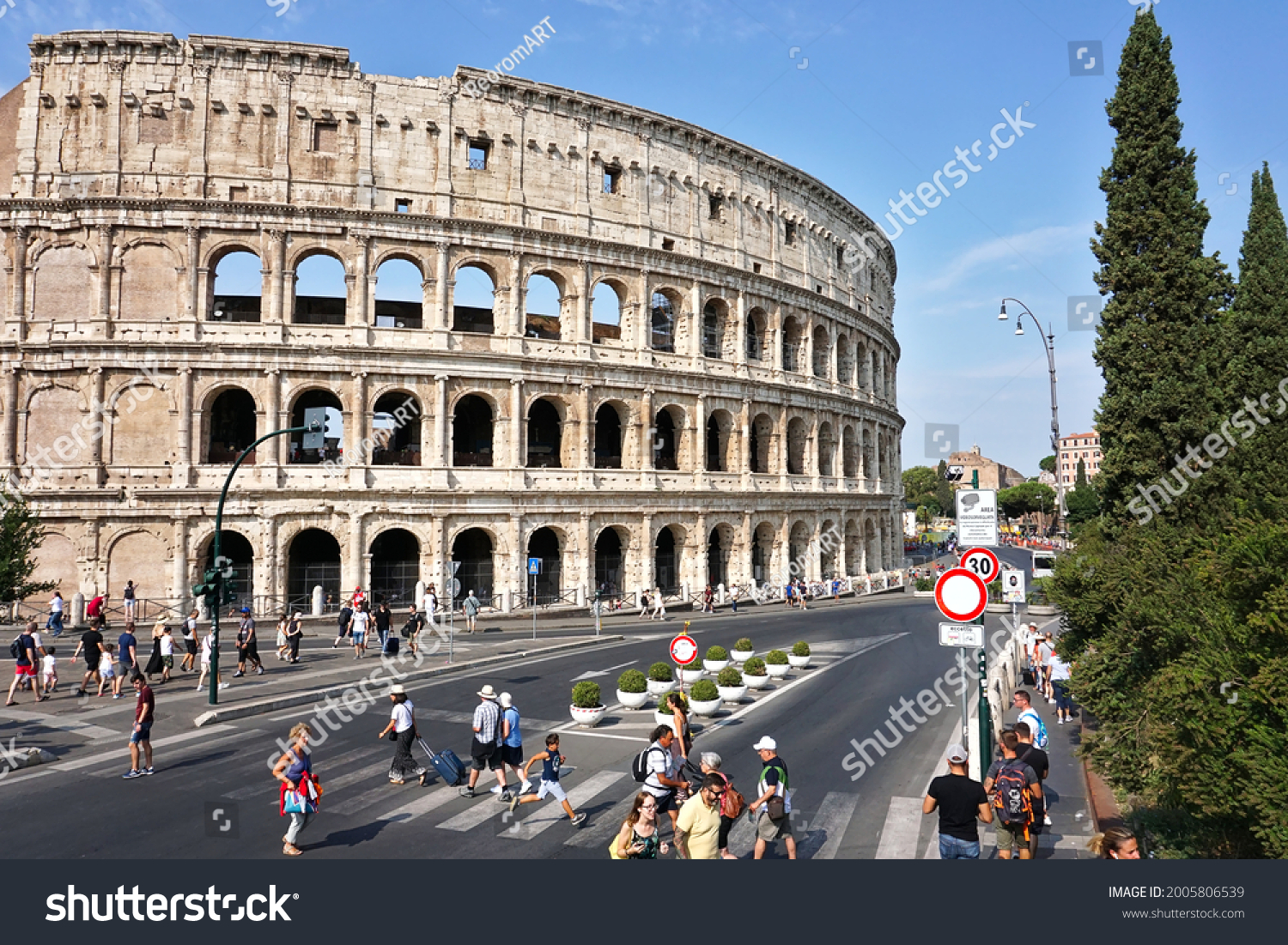 Colosseum, Rome, Italy view from the street on 01.09.2019. Amphitheater in the Roman Empire used to show gladiator fights and hunting scenes with exotic and ferocious animals.