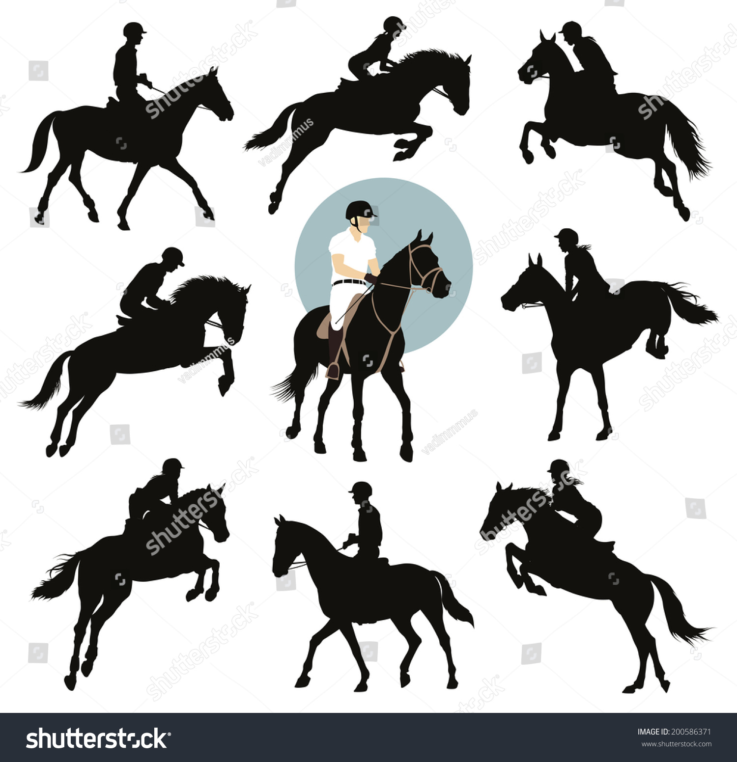 Horse Rider Jumping Silhouettes Set Equestrian Stock ...