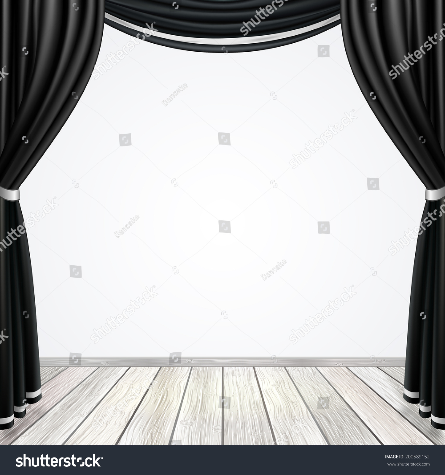 Empty Stage With Black Curtains Drapes And Light Wooden ...