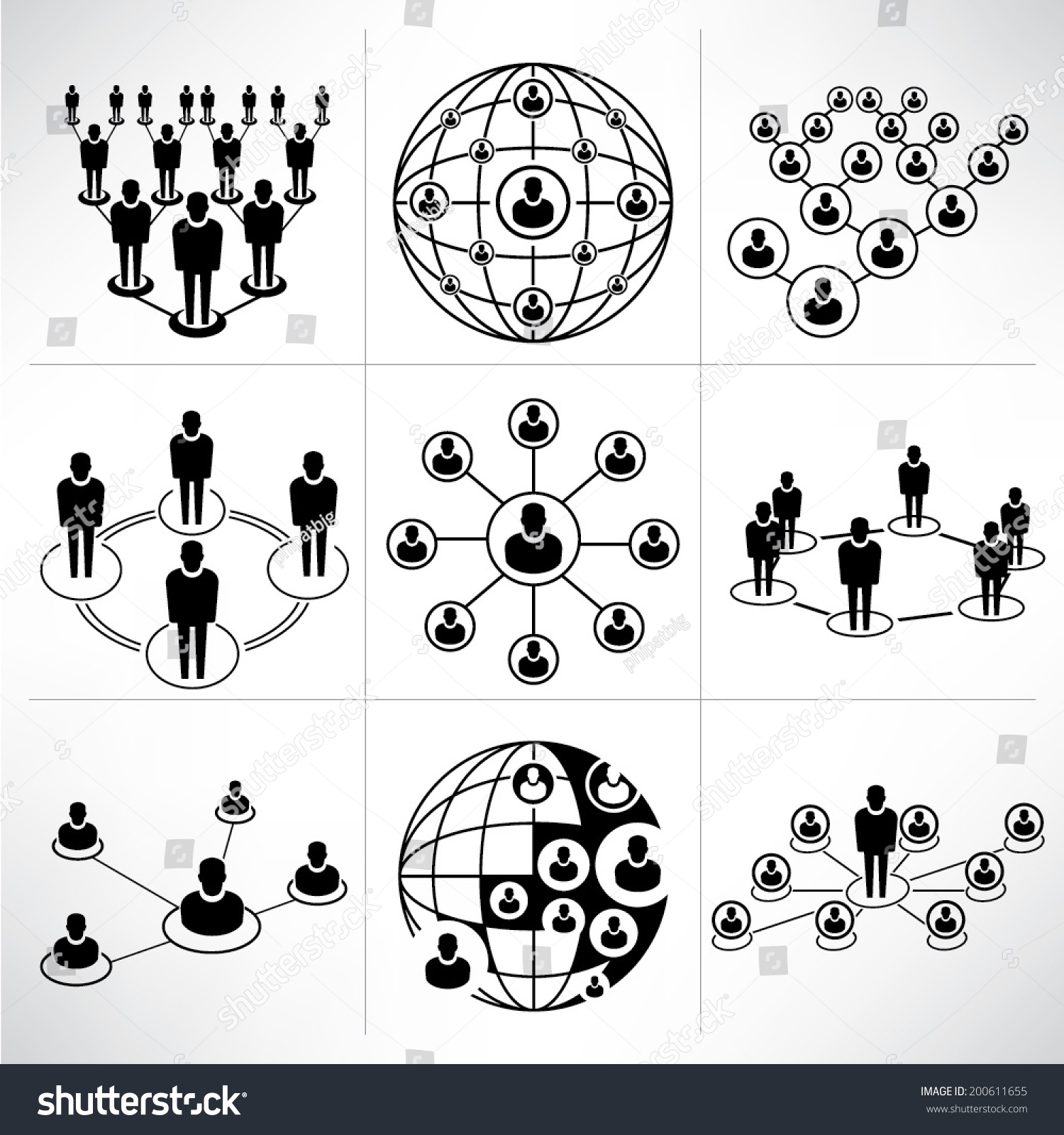 People Network Icons Set People Connection Stock Vector ...