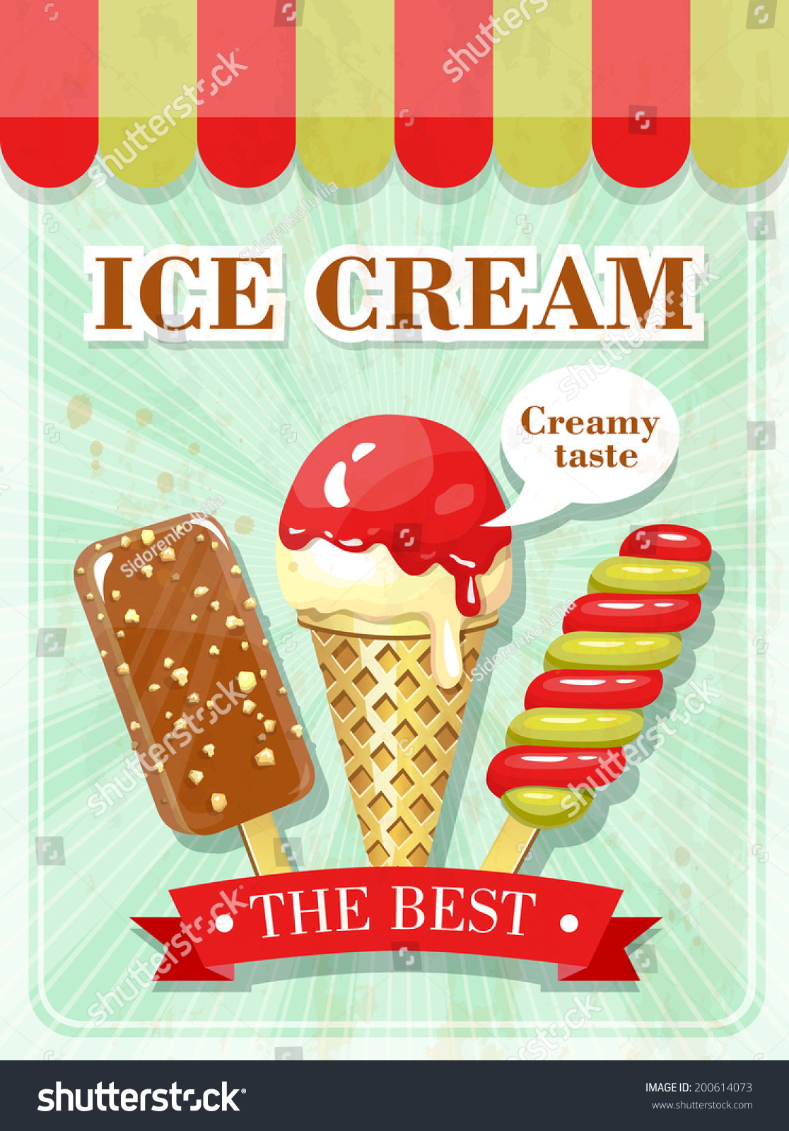 Vintage Ice Cream Poster Stock Vector 200614073 - Shutterstock