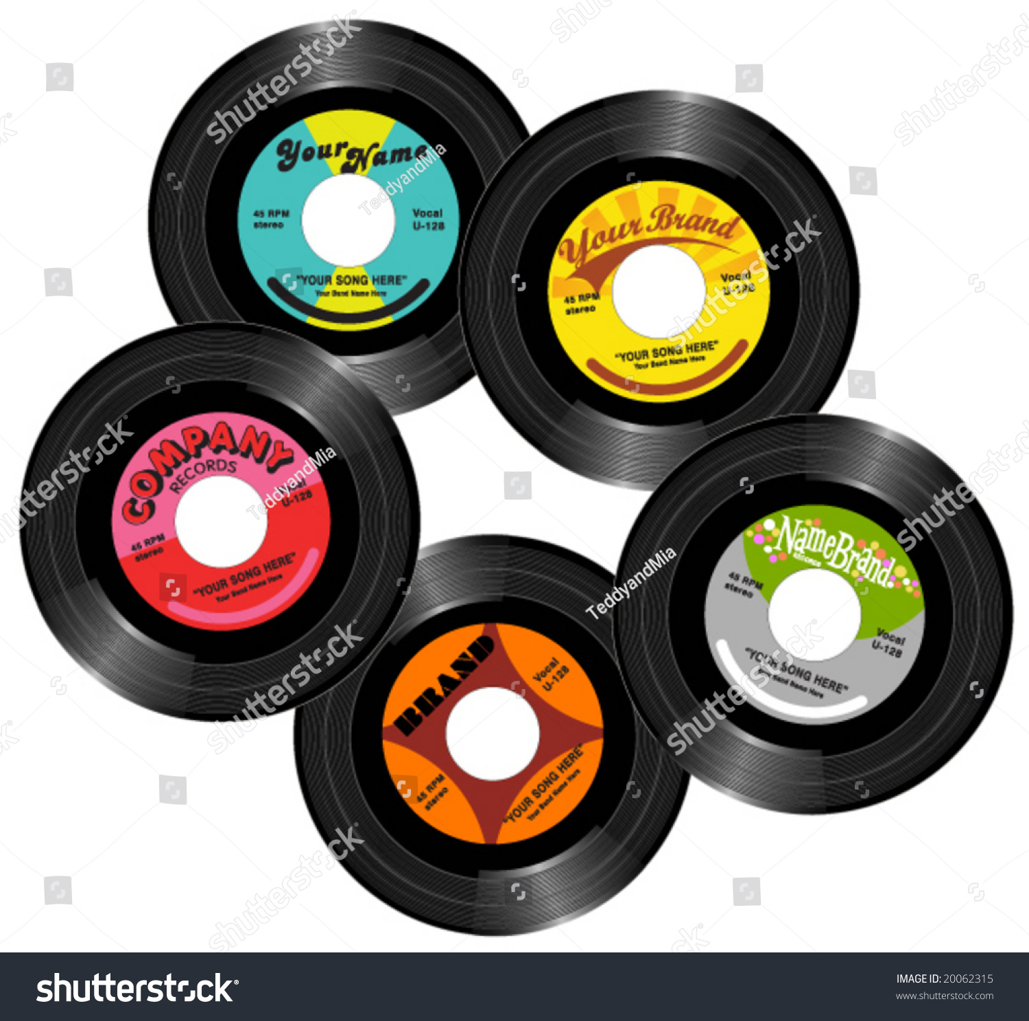 Vintage 45 Record Labels Stock Vector Illustration