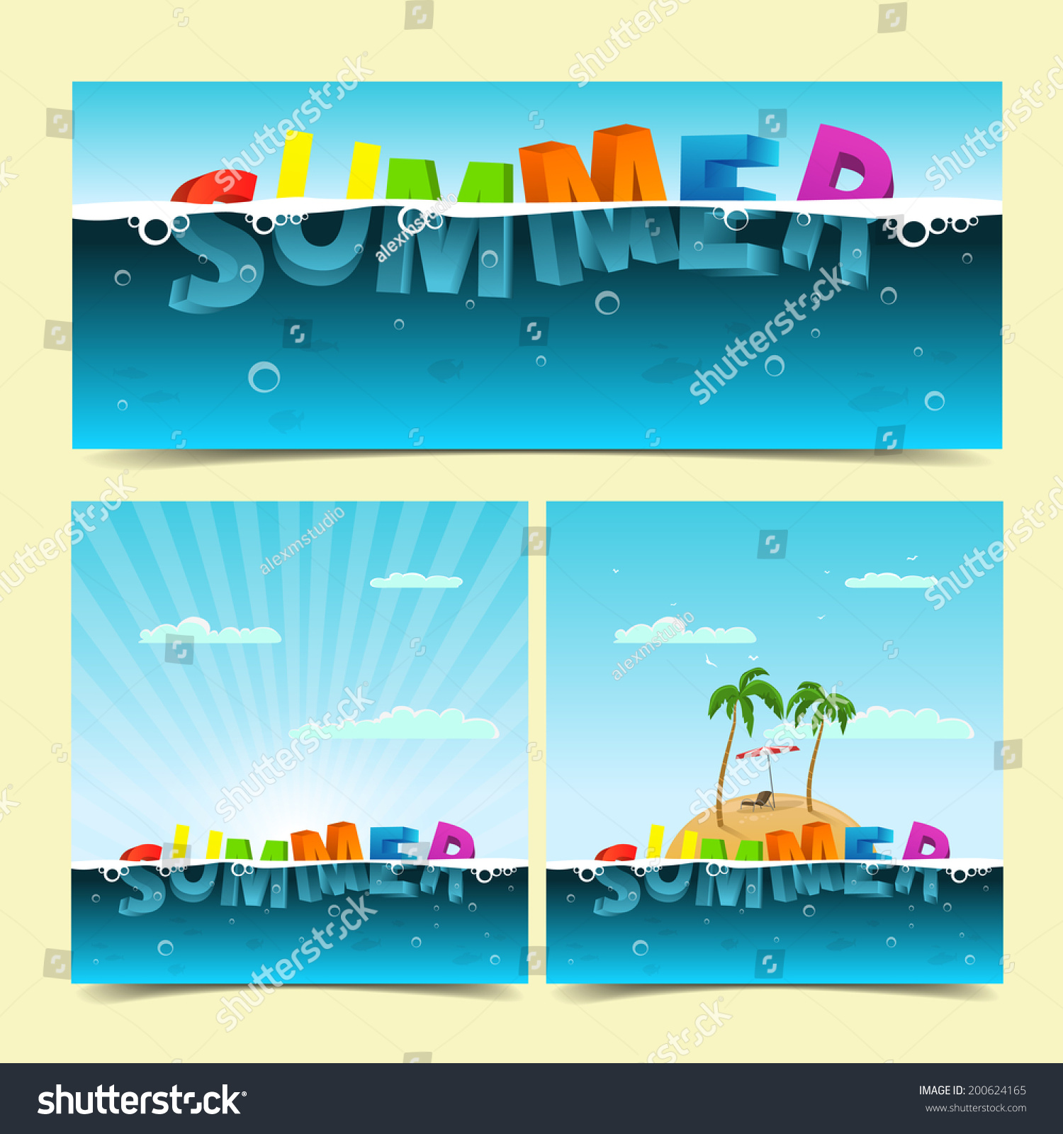Beach chair and parasol vector illustration stock vector image - Summer Banners Stock Vector 200624165 Shutterstock