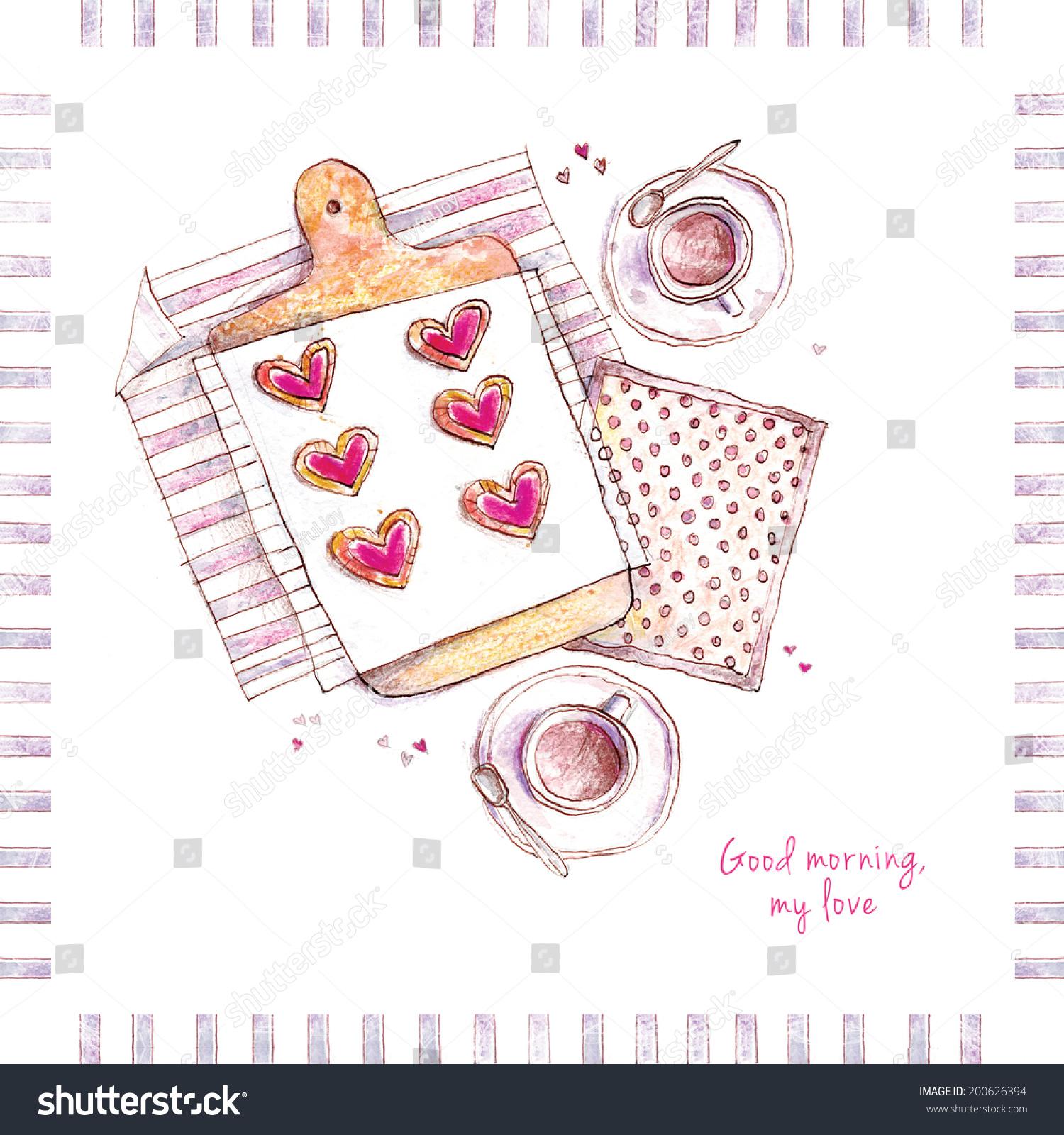 Watercolor Greeting Card Tea Coffee Hearts Stock Illustration