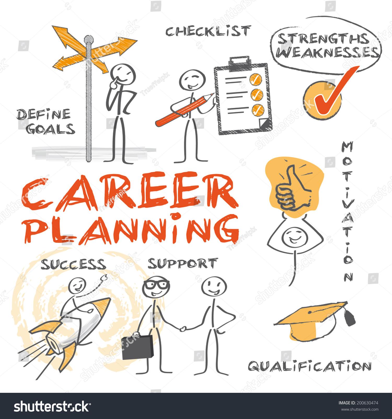 career planning chart keywords handdrawn figures stock vector career planning chart keywords and hand drawn figures