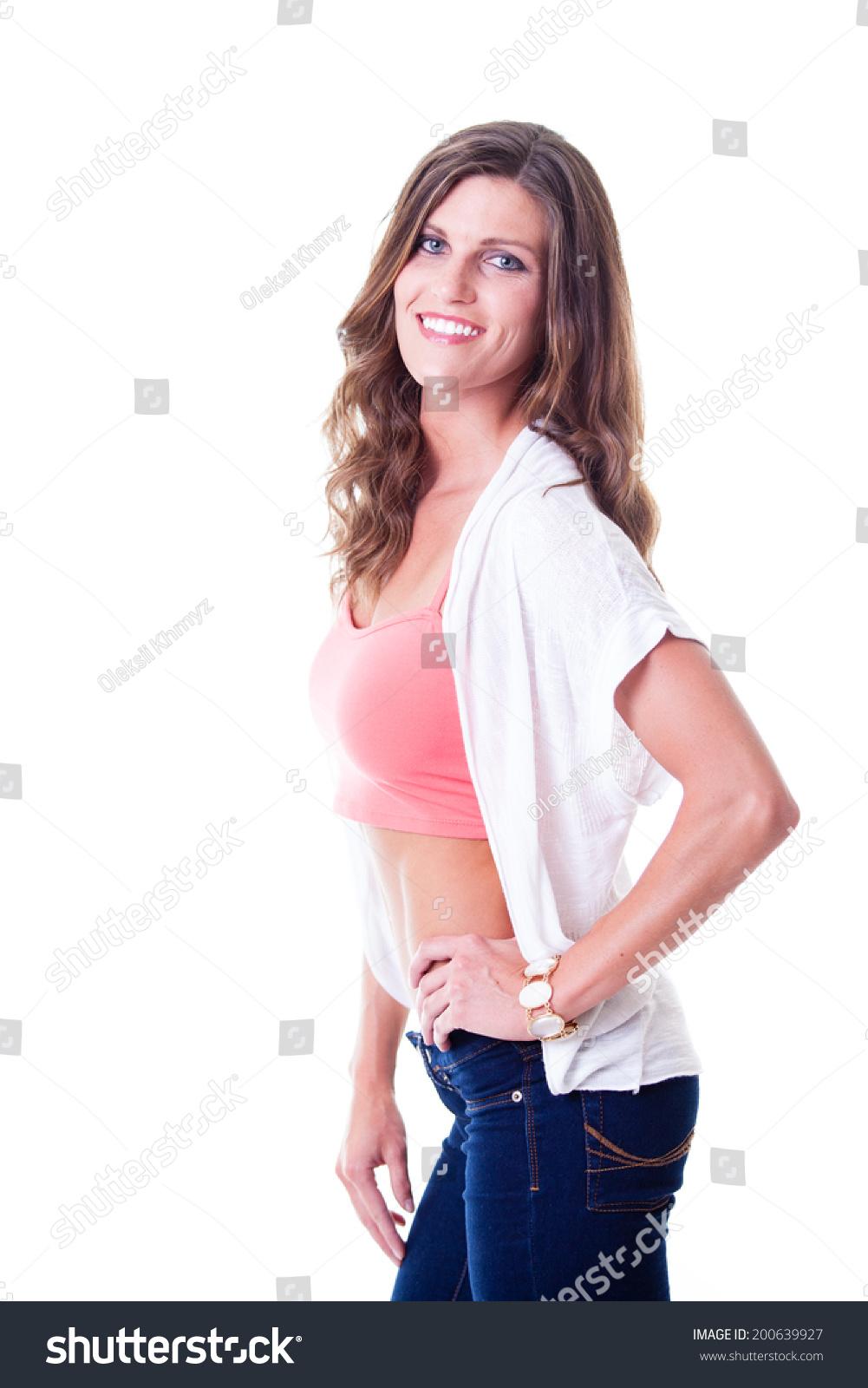 Beautiful Woman Jeans Pink Top Studio Stock Photo 200639927 - Shutterstock