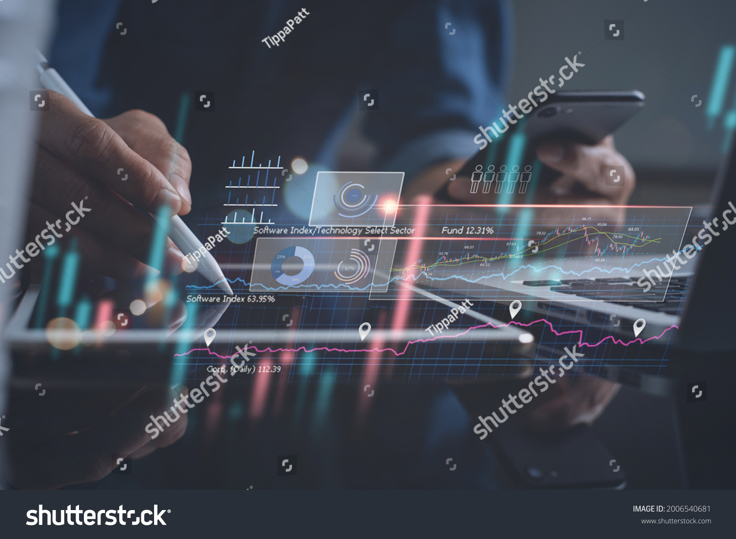 Business analysis, strategy and planning concept. Businessman, finance analyst working on digital tablet, business data and economic, economic growth, financial graph chart, stock market report  #2006540681
