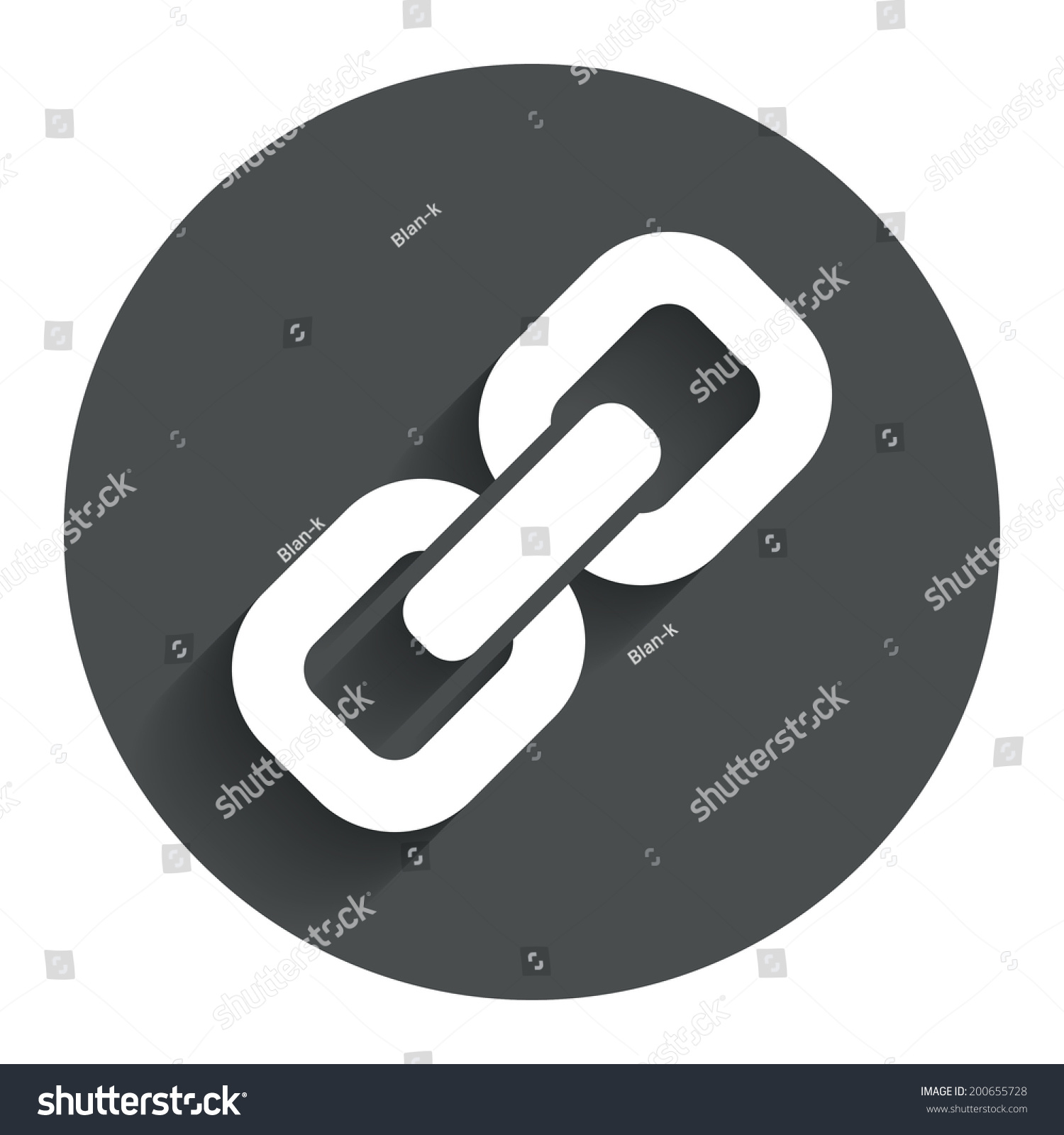 Link Sign Icon. Hyperlink Chain Symbol. Circle Flat Button ...