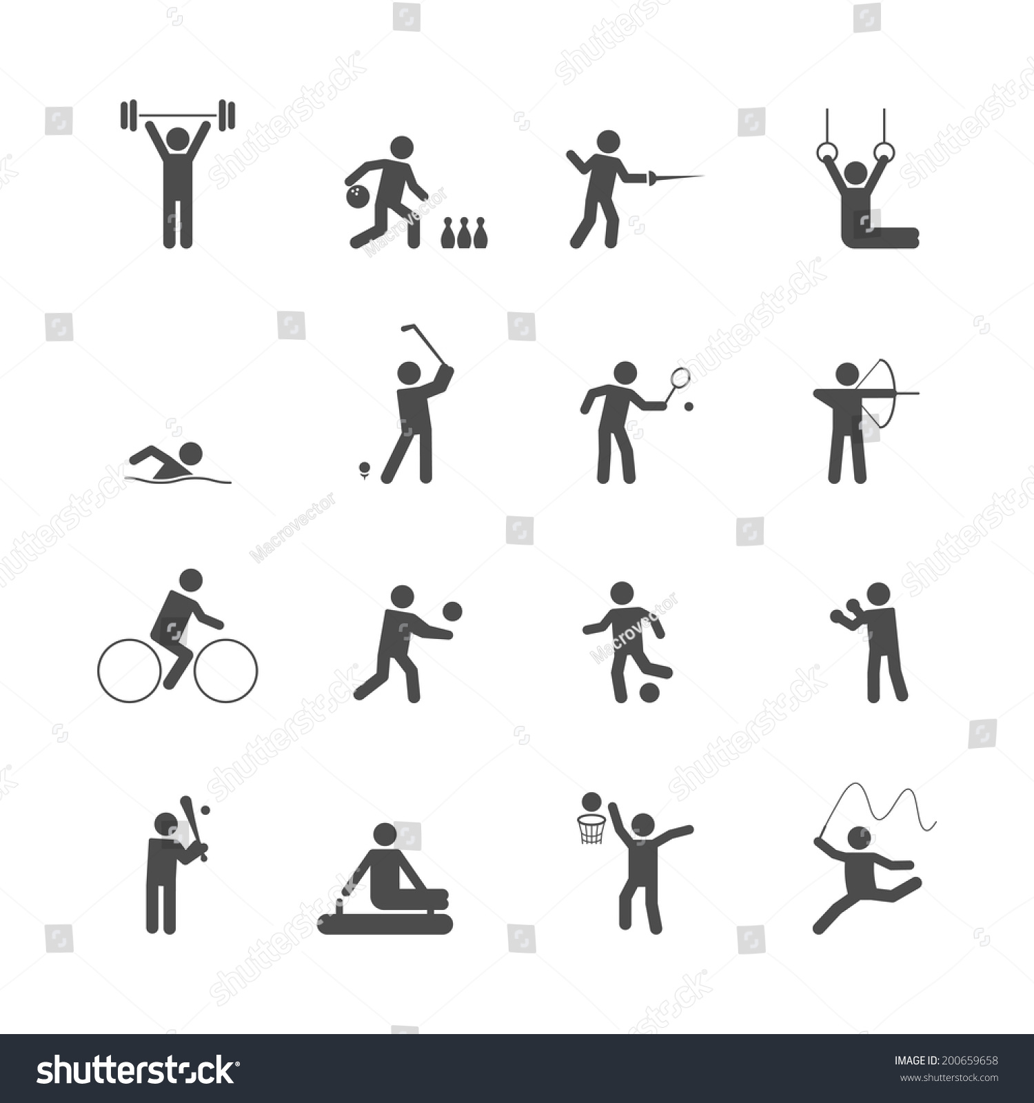 Decorative Swimming Boxing Weihgtlifting Sport Symbols Stock Vector