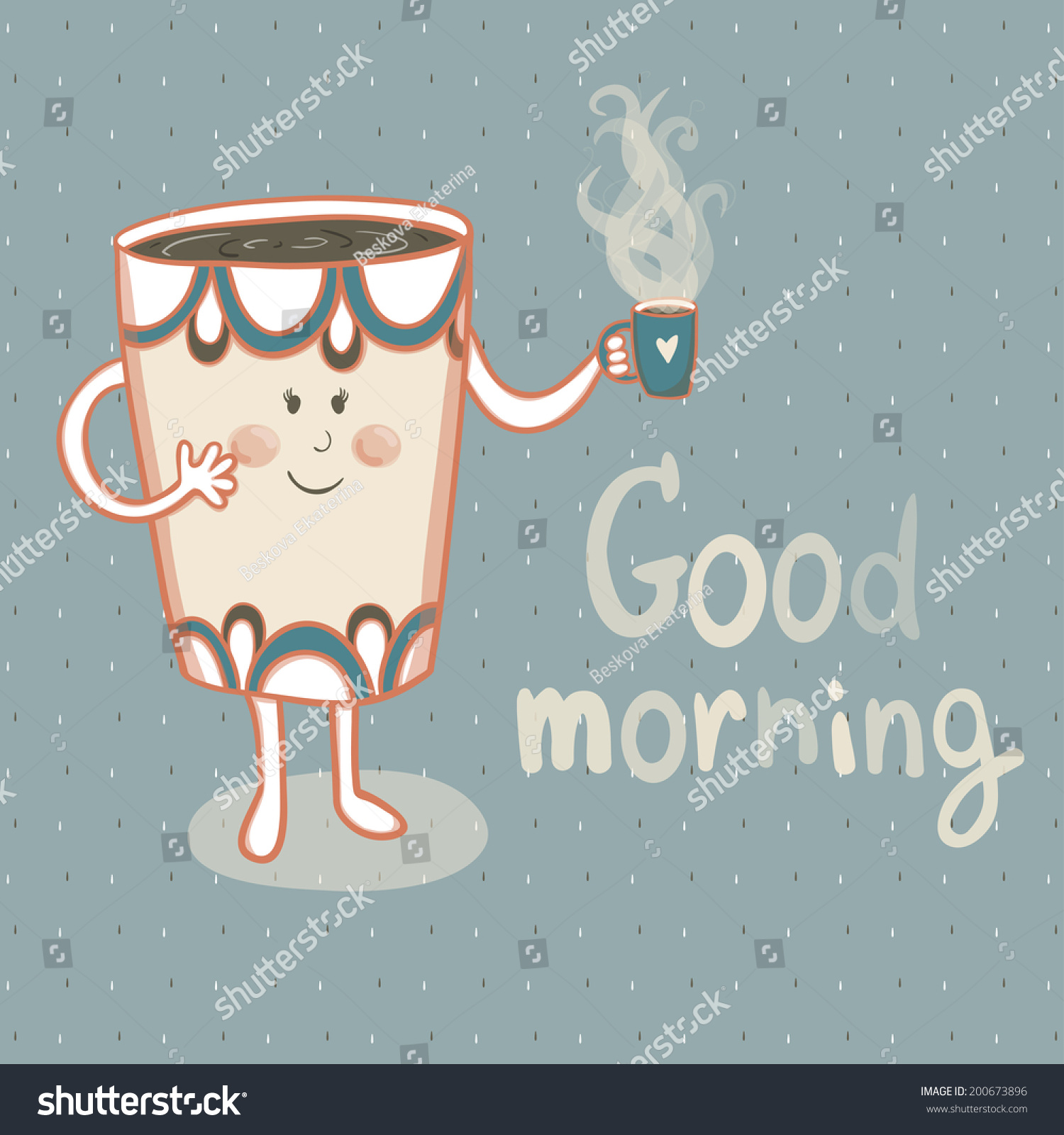 Larger preview vector clip art of a happy yellow coffee cup character - Vector Illustration Of Smiling Cup With Cup Of Tea Vector Card With Cute Cartoon Character