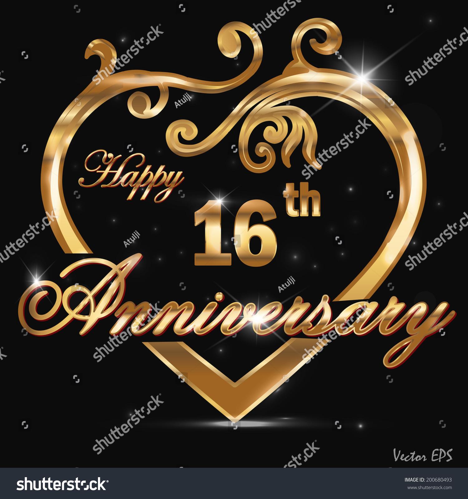 16 year anniversary golden heart, 16th… Stock Photo