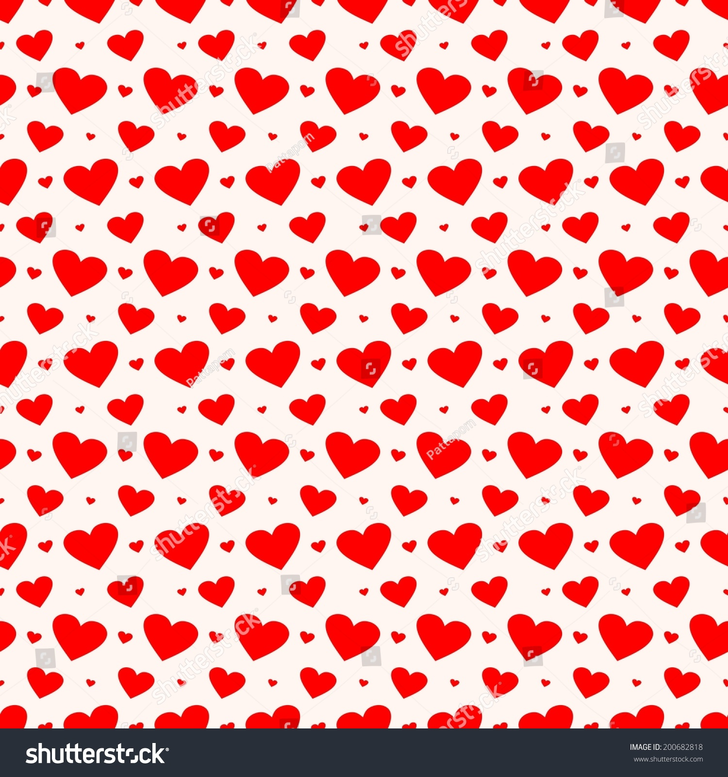 Digital Paper Scrapbook Red Hearts Pattern Stock Illustration