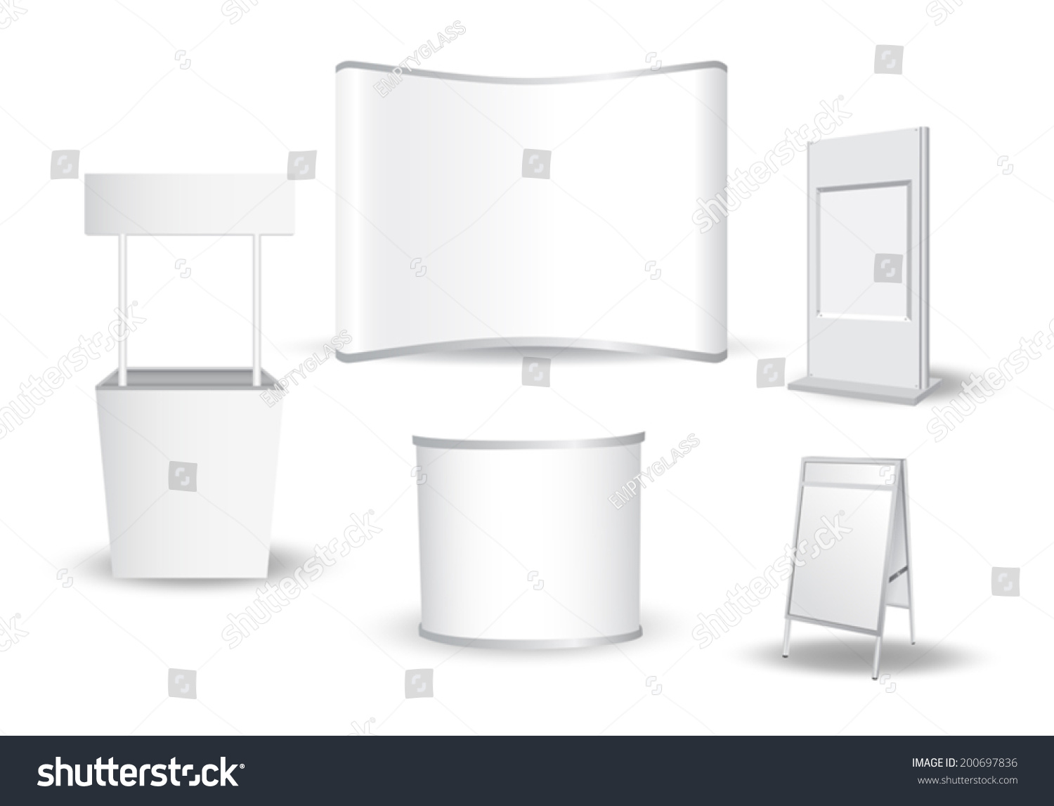 Blank Exhibition Stand Vector : Set of blank exhibition stand vector