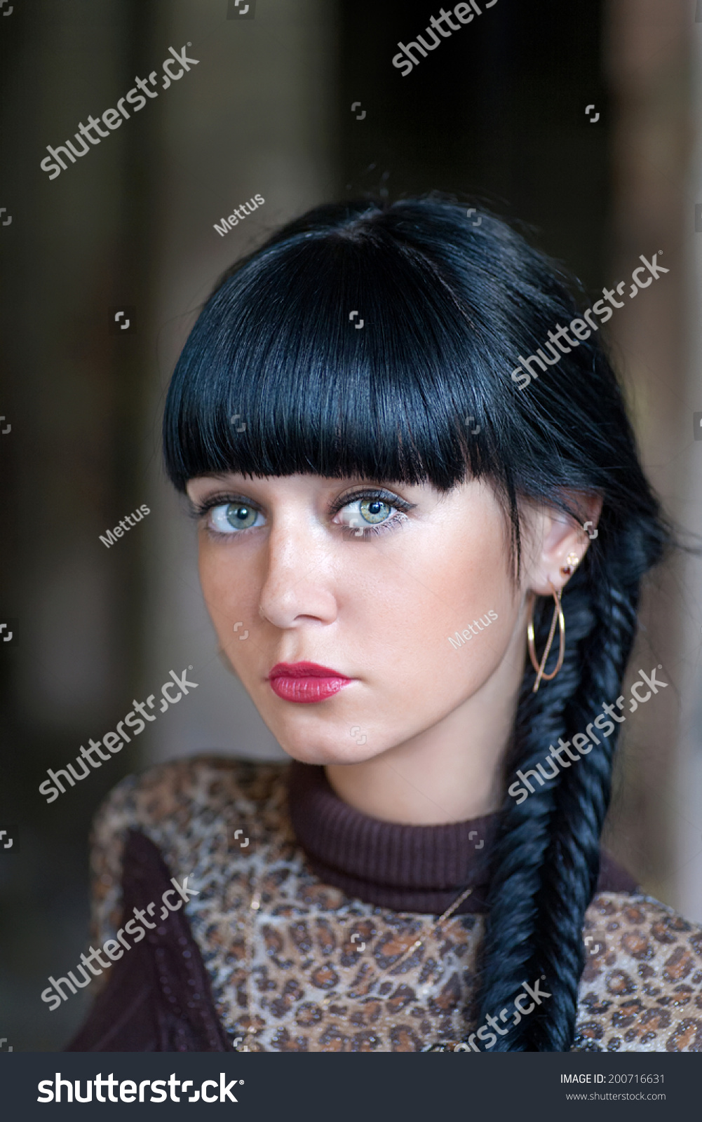 Black haired women with braid fashion style outdoors