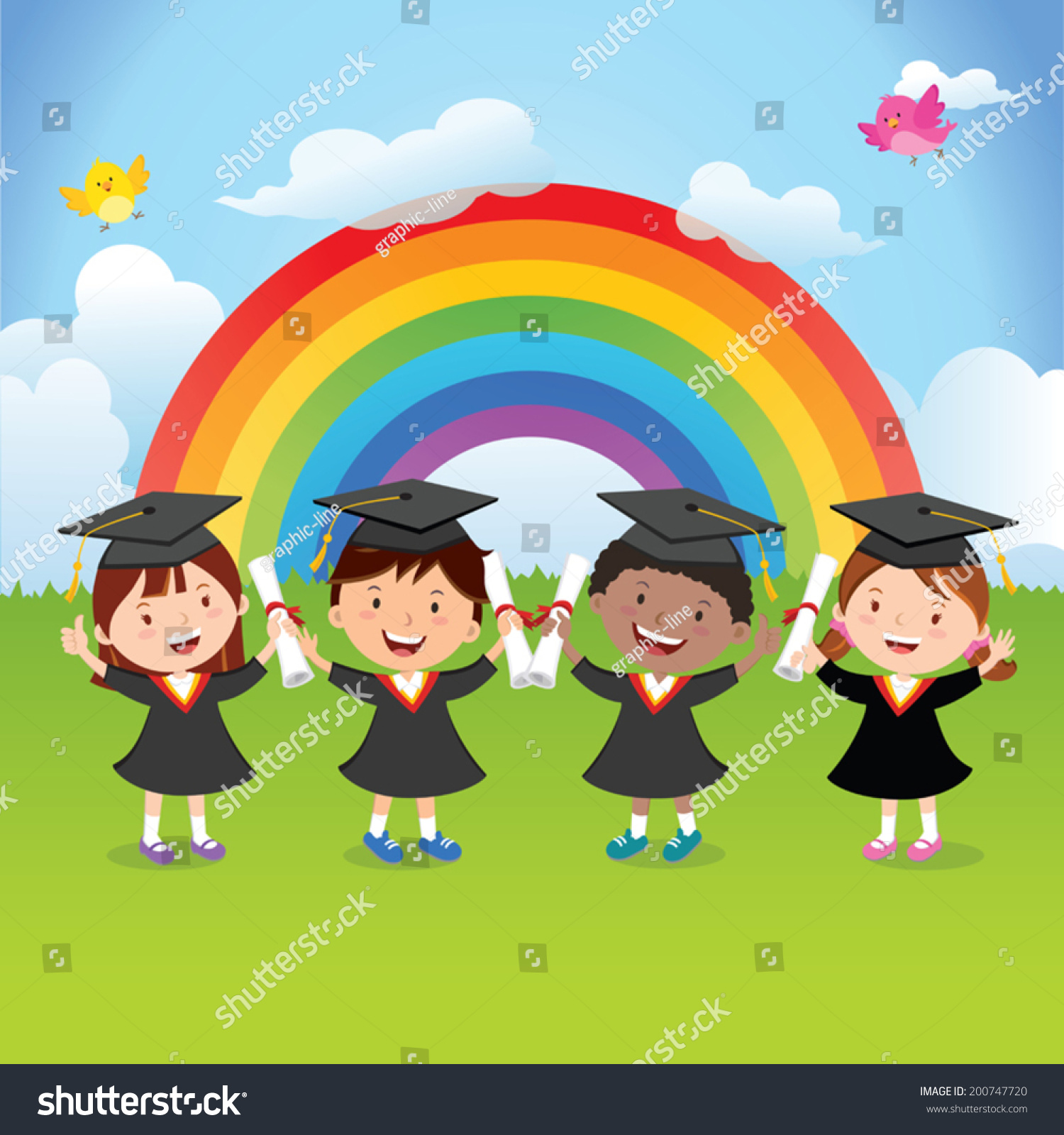 Happy Graduation Kids Rainbow Stock Vector (Royalty Free) 200747720 ...
