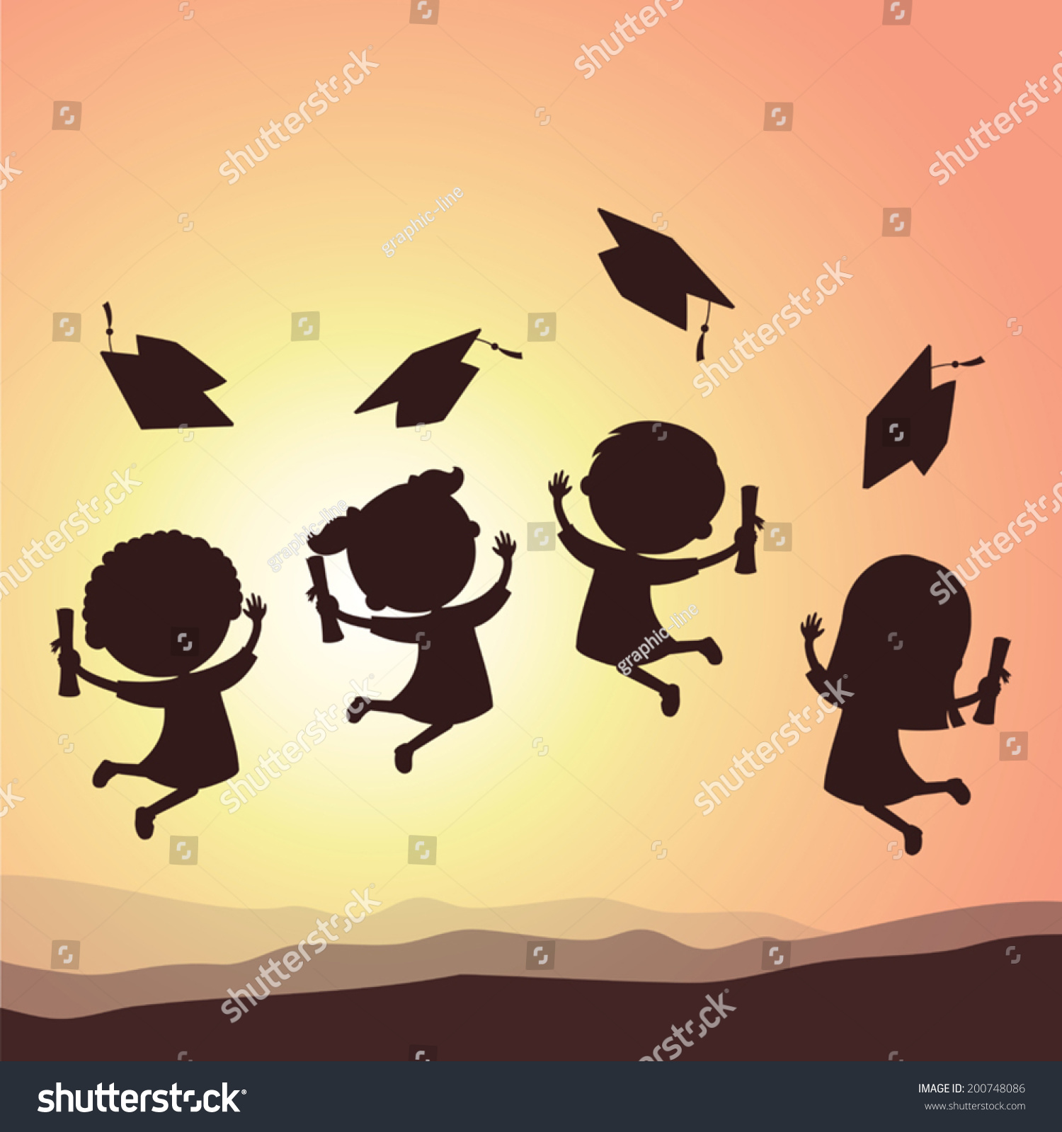 graduation kids silhouette school kids jumping stock