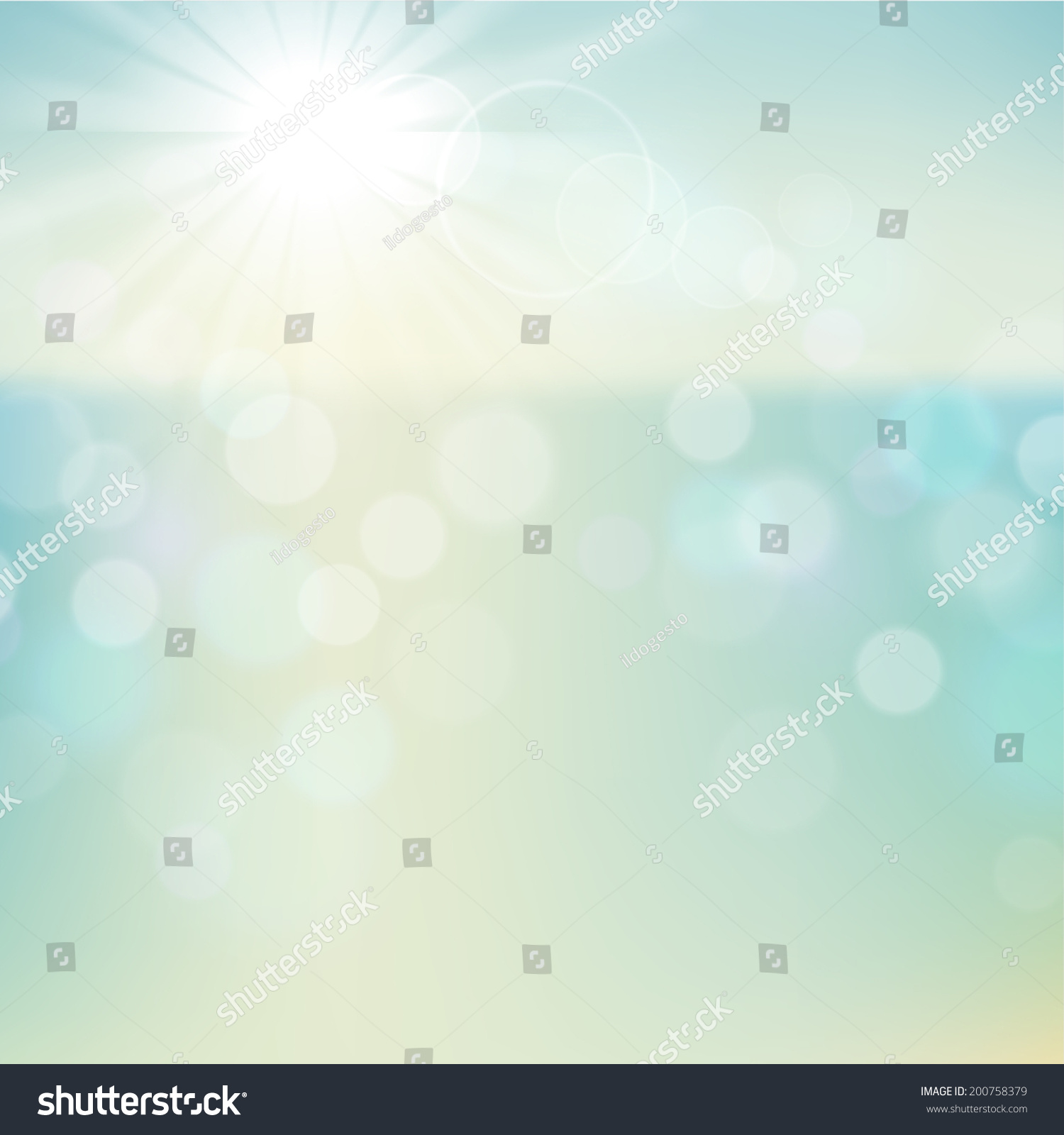 Background Of Blurred Beach And Sea Waves With Bokeh: Summer Tropical Beach Bokeh Background Stock Illustration