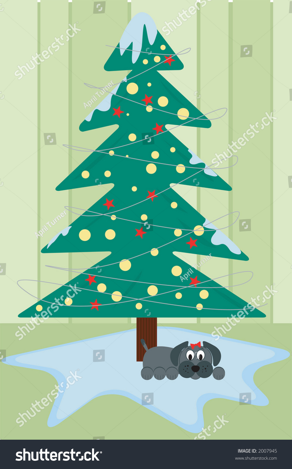 Contemporary Christmas Tree Small Dog Lounging Stock Vector Royalty Free 2007945