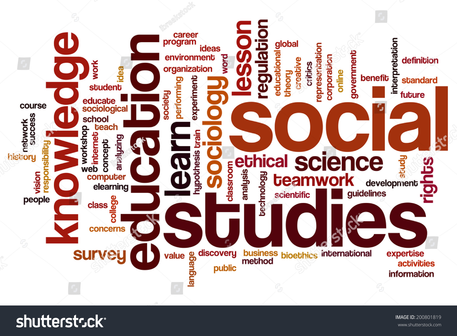 social studies concept word cloud background stock illustration