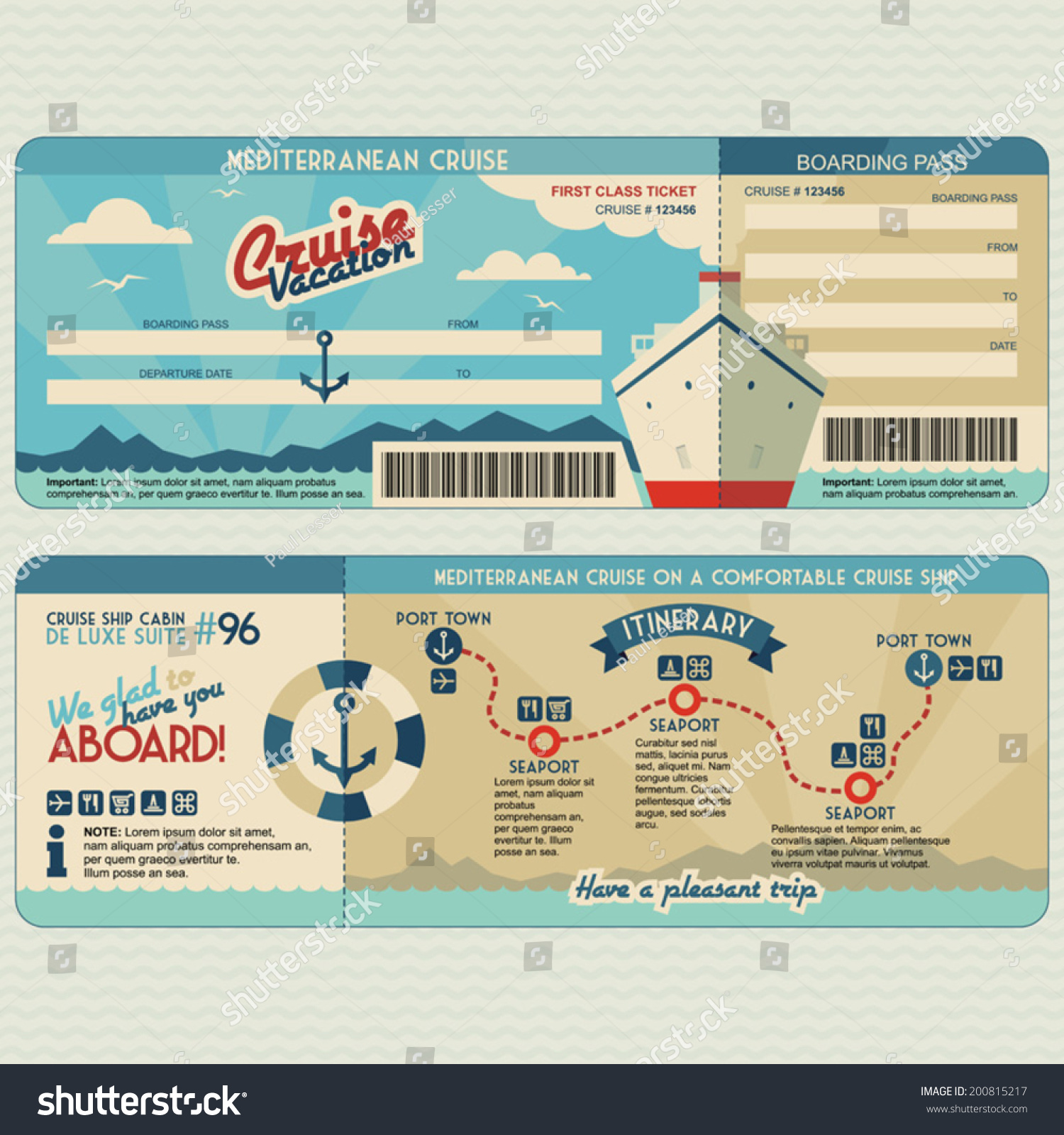 Cruise Ship Boarding Pass Flat Graphic Vector 200815217 – Cruise Itinerary Template