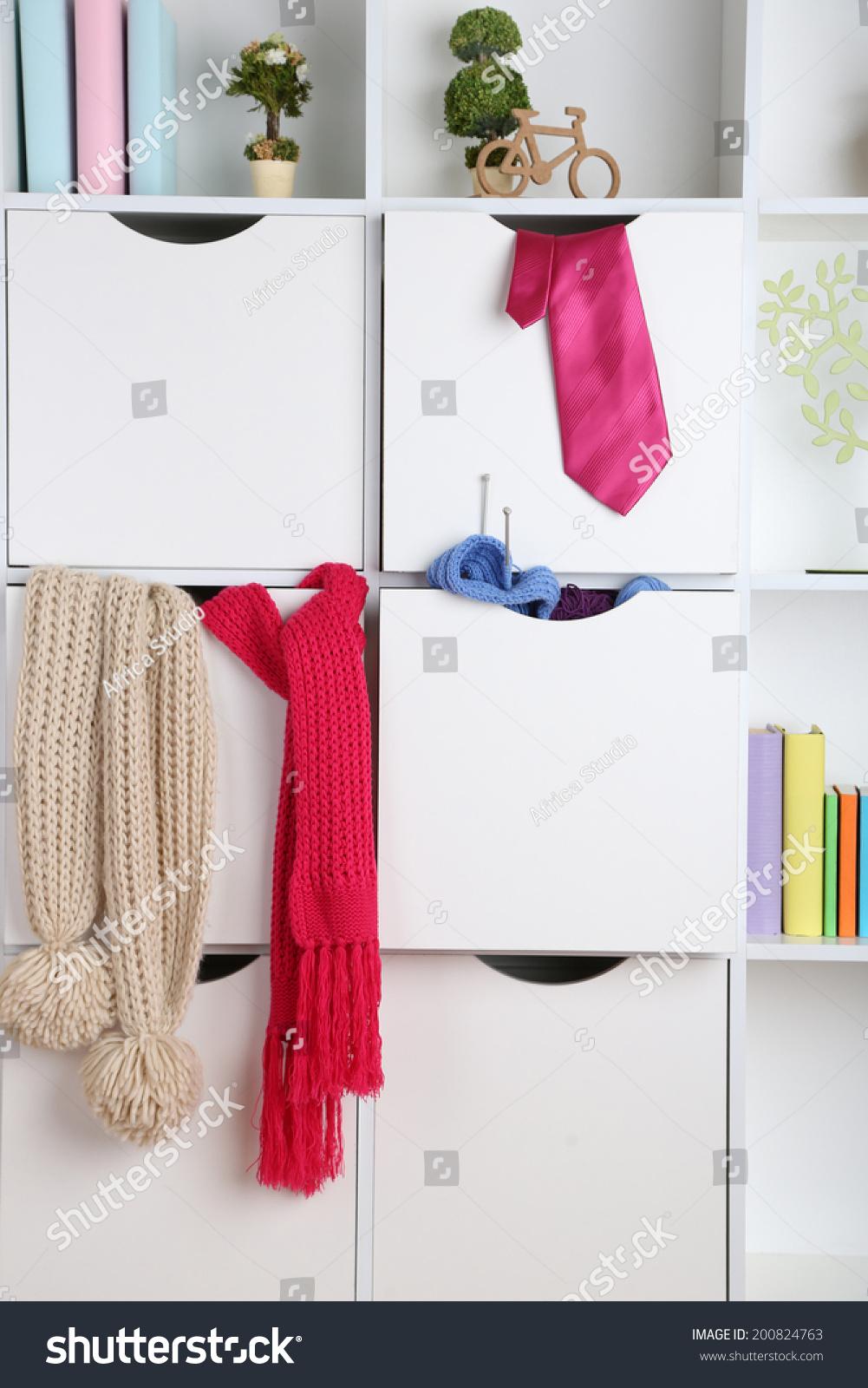 Beautiful white drawers shelves different home stock photo 200824763 shutterstock - Beautiful photoshelves ...
