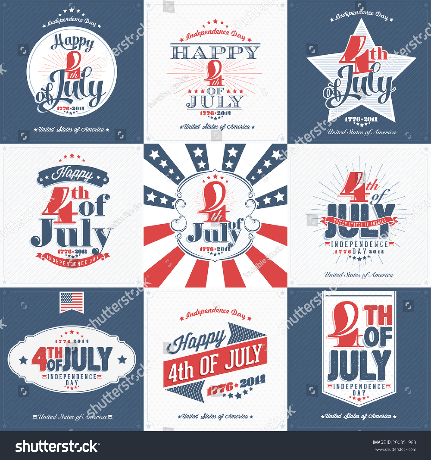Set nine vintage greeting cards happy stock vector 200851988 a set of nine vintage greeting cards happy independence day united states of america m4hsunfo