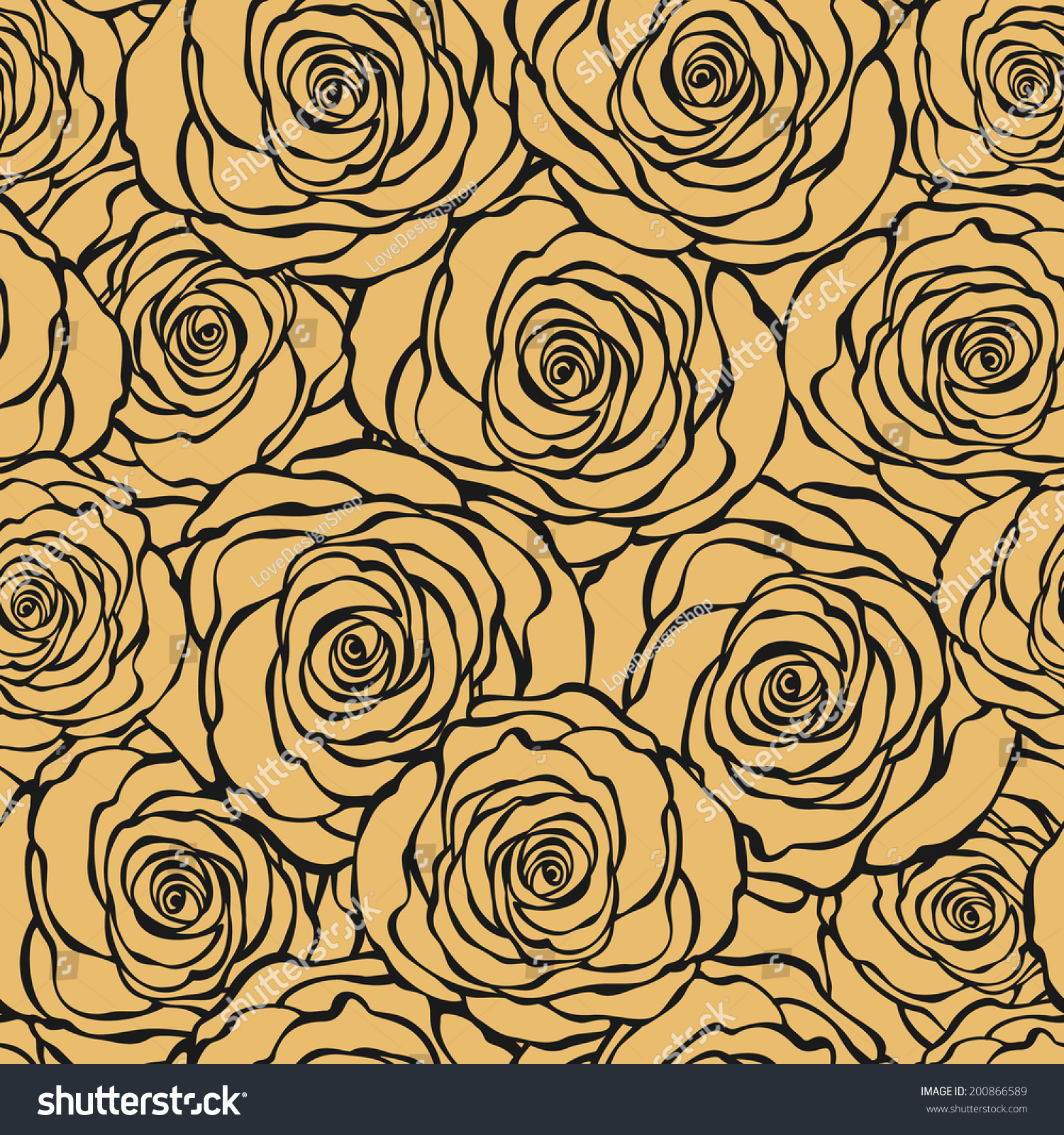 Art Deco Floral Seamless Pattern Roses Stock Vector Royalty Free