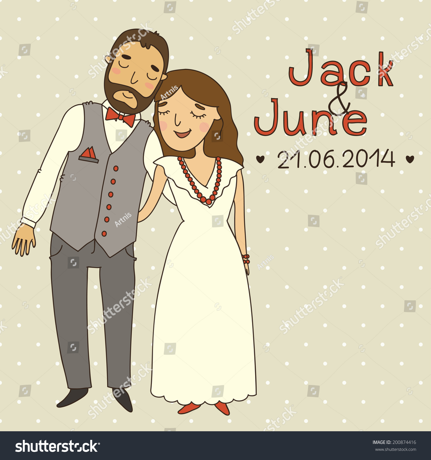 Wedding Invitation Cartoon Couple Save Date Stock Vector (Royalty ...