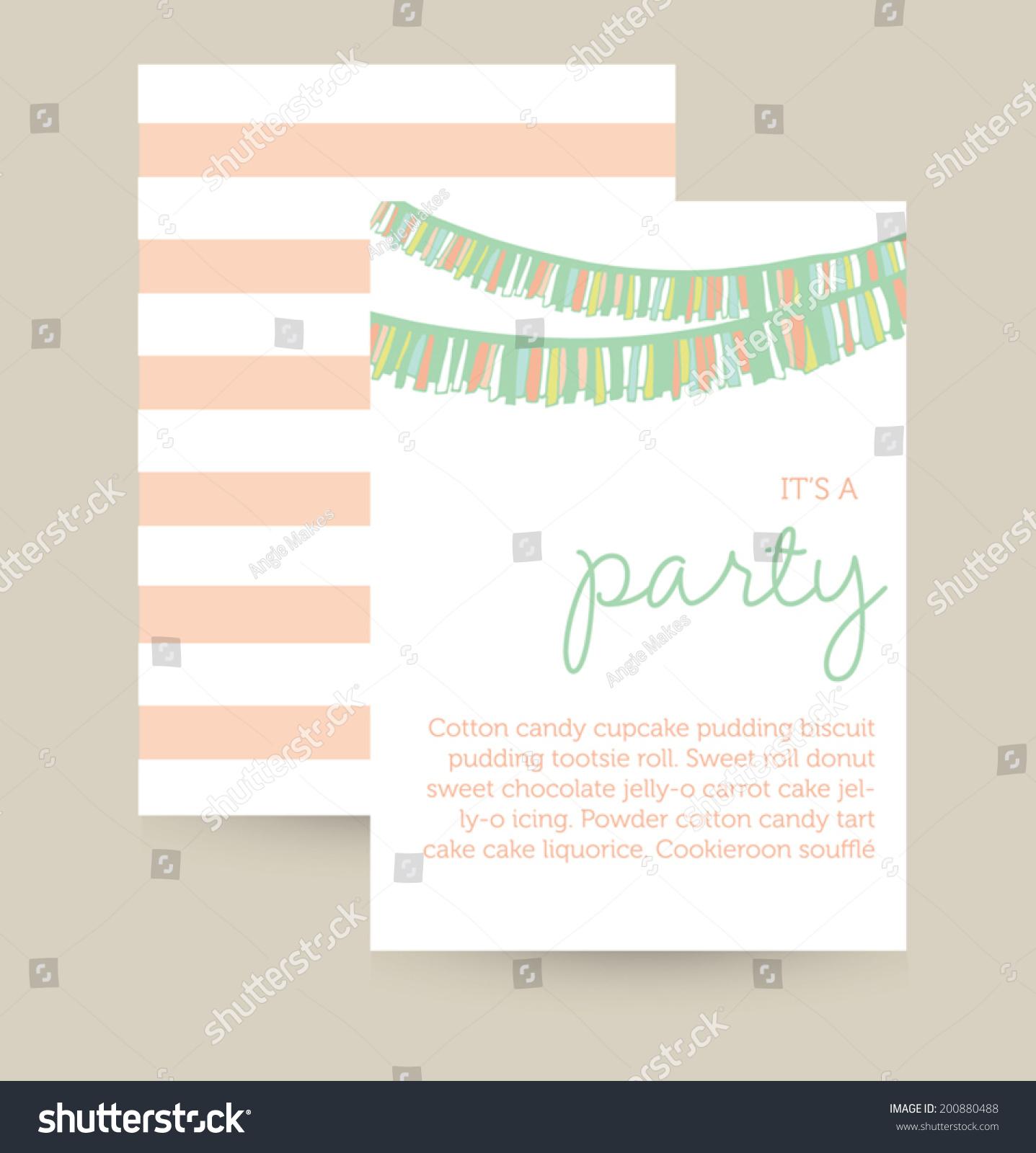 cute vector party invitation template birthday stock vector cute vector party invitation template birthday party invitation party garland