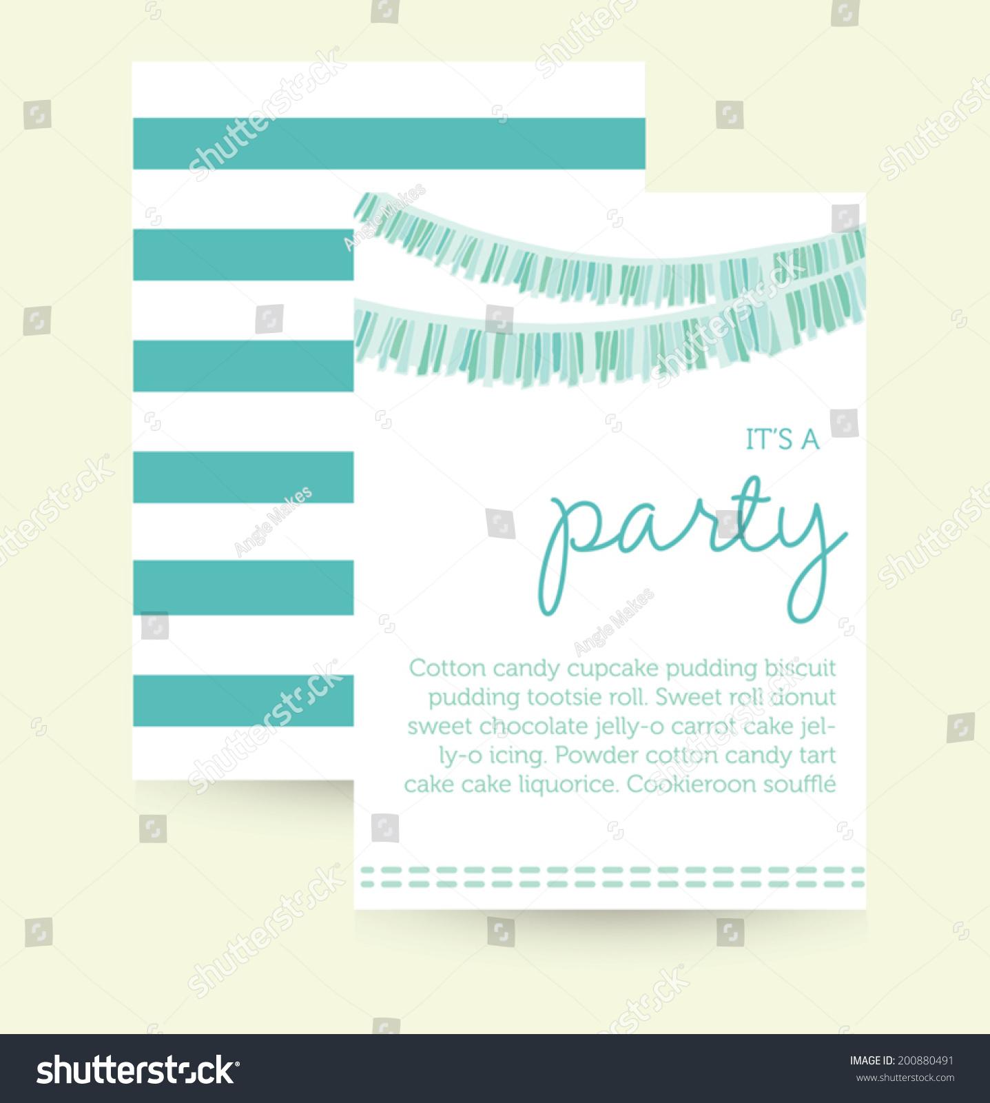 cute vector party invitation template birthday party invitation cute vector party invitation template birthday party invitation party garland 200880491 shutterstock