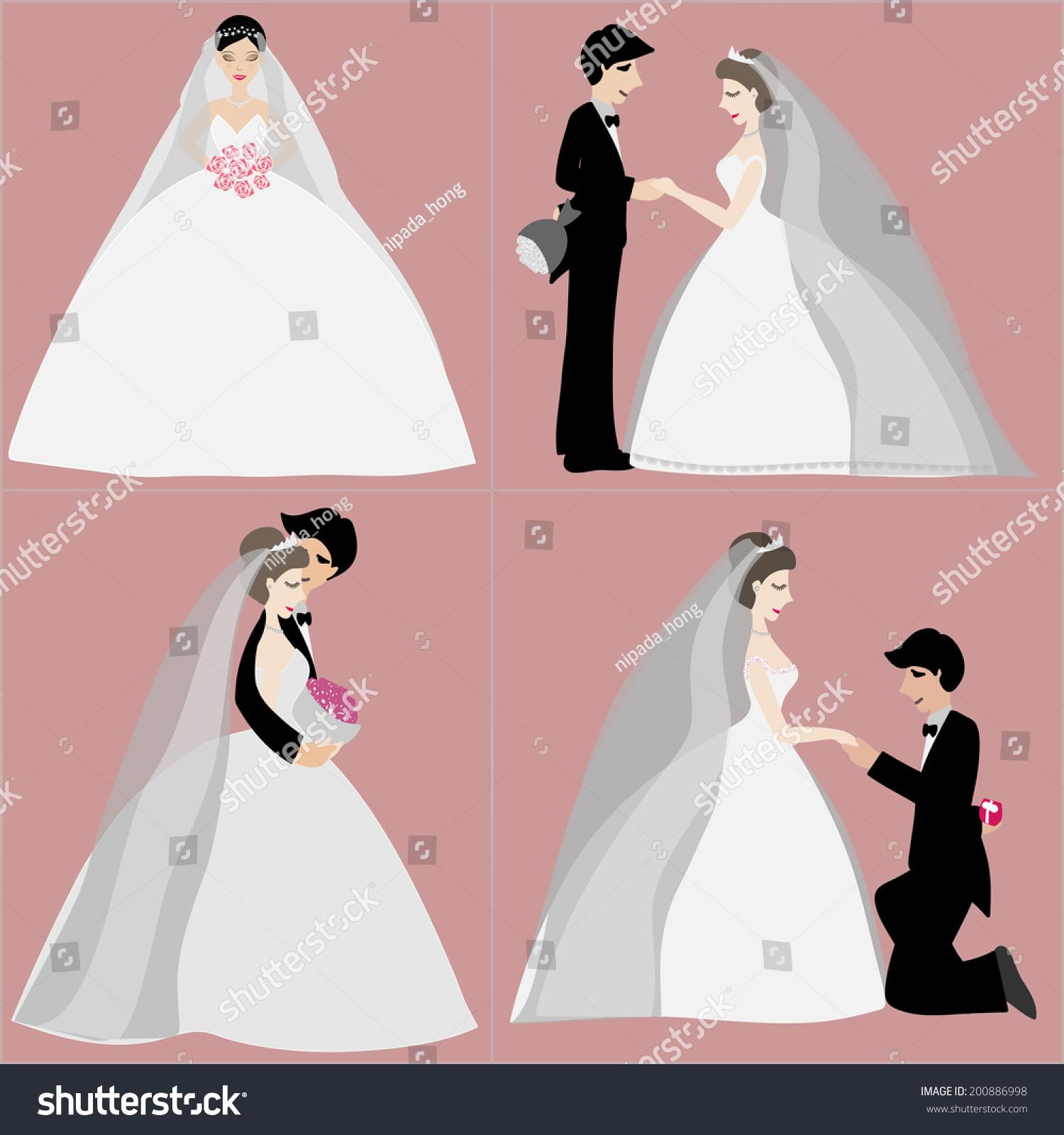 Set Bride Groom Wedding Invitation Vector Stock Vector 200886998 ...