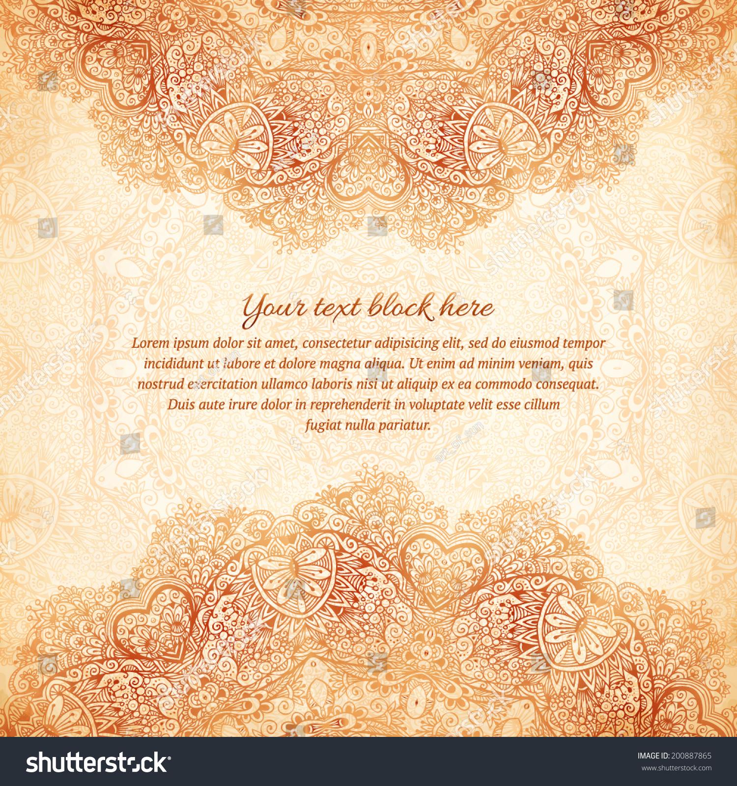 Ornate vintage vector background in mehndi style royalty free stock - Ornate Vintage Background In Mehndi Style