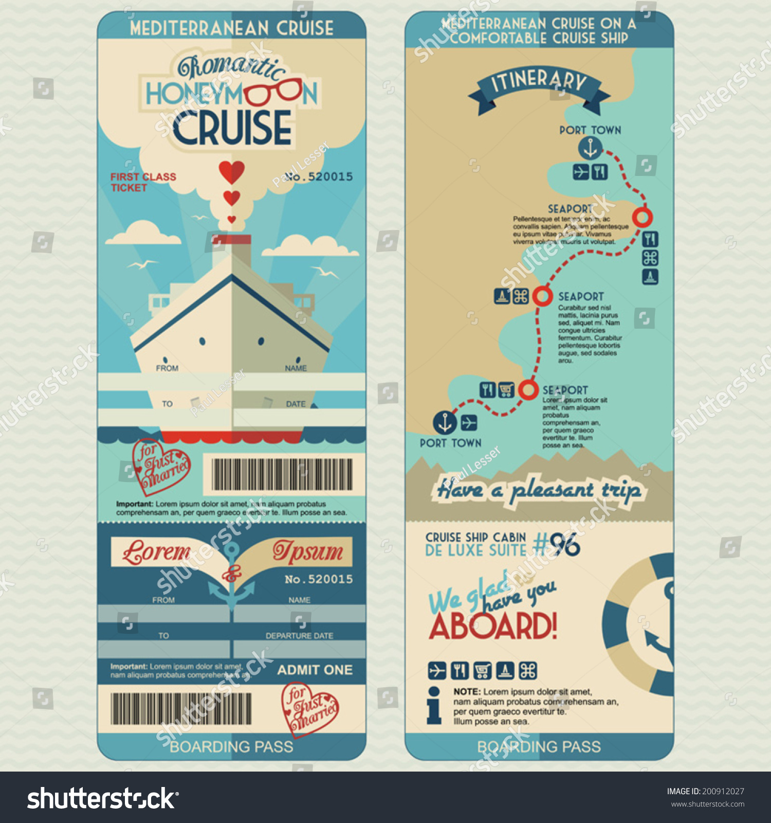 Honeymoon Cruise Boarding Pass Just Married Vector 200912027 – Cruise Itinerary Template