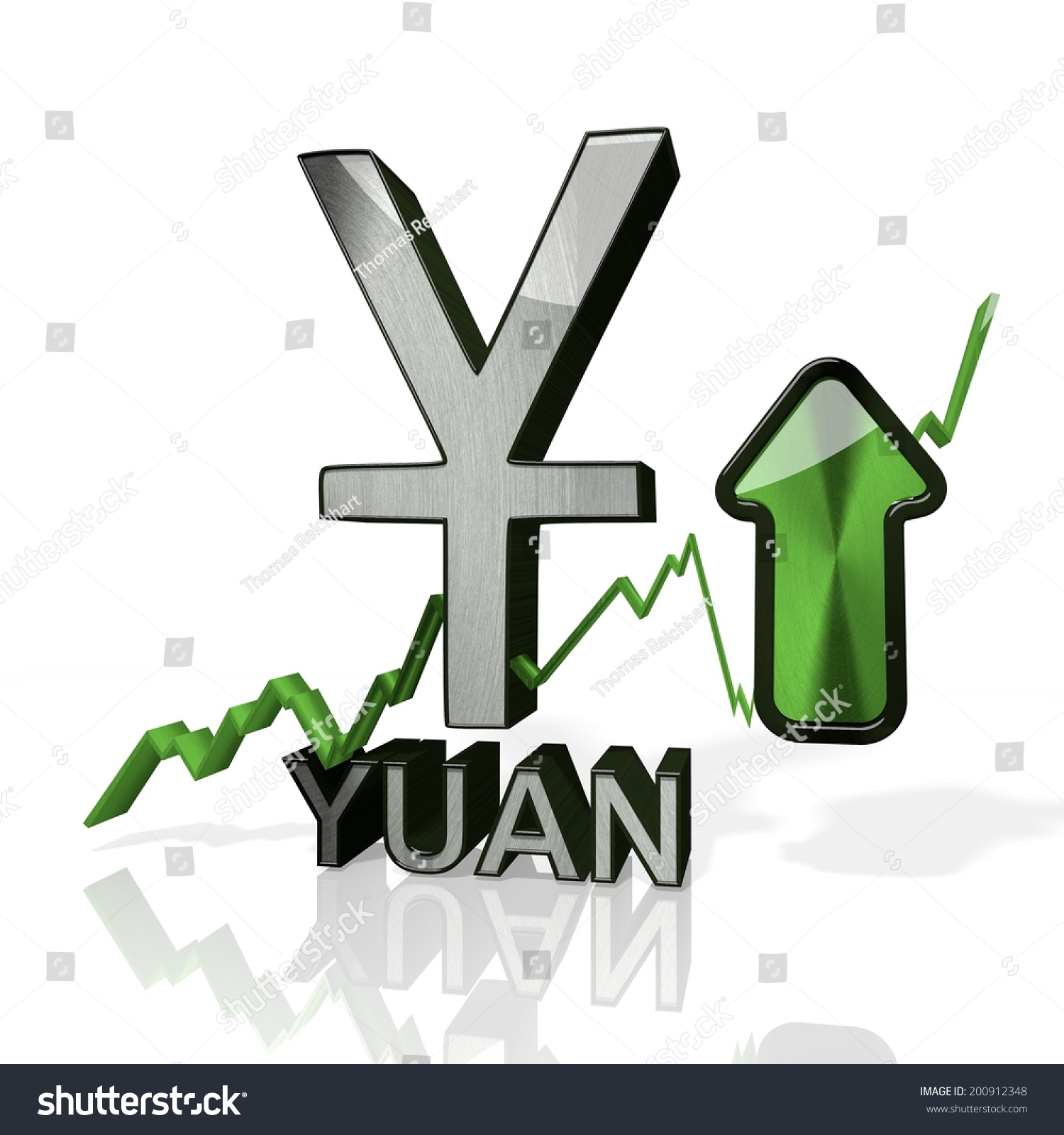 3d rendered symbol china yuan renminbi stock illustration 3d rendered symbol of china yuan renminbi currency with up stock market trend arrows in stylish biocorpaavc Choice Image