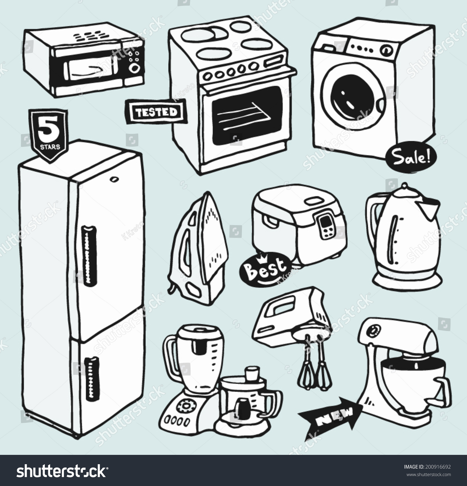 Cartoon Electric Cooker ~ Cartoon handdrawn household appliances cooking cleaning