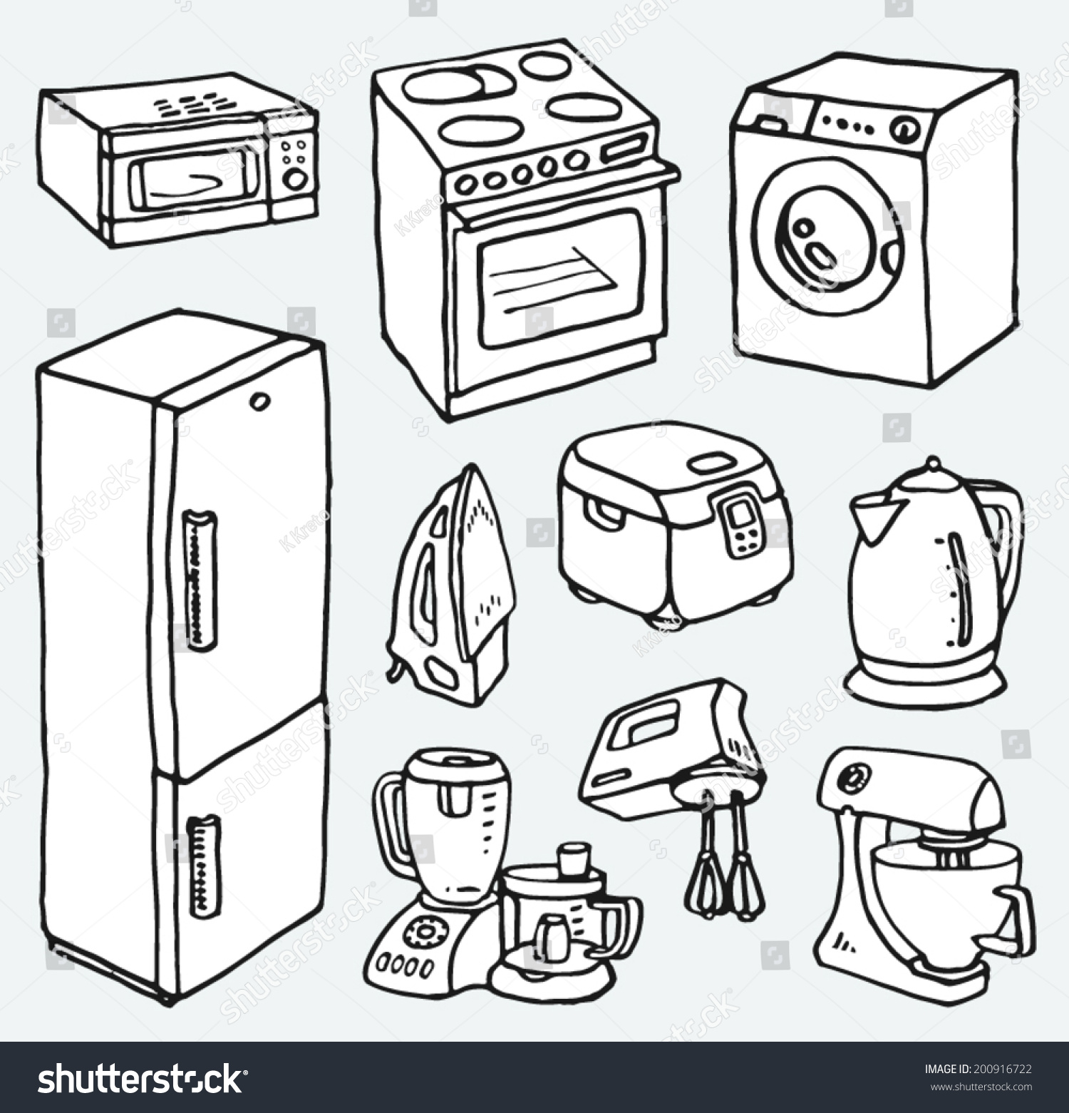 Cartoon Electric Cooker ~ Royalty free cartoon hand drawn household appliances