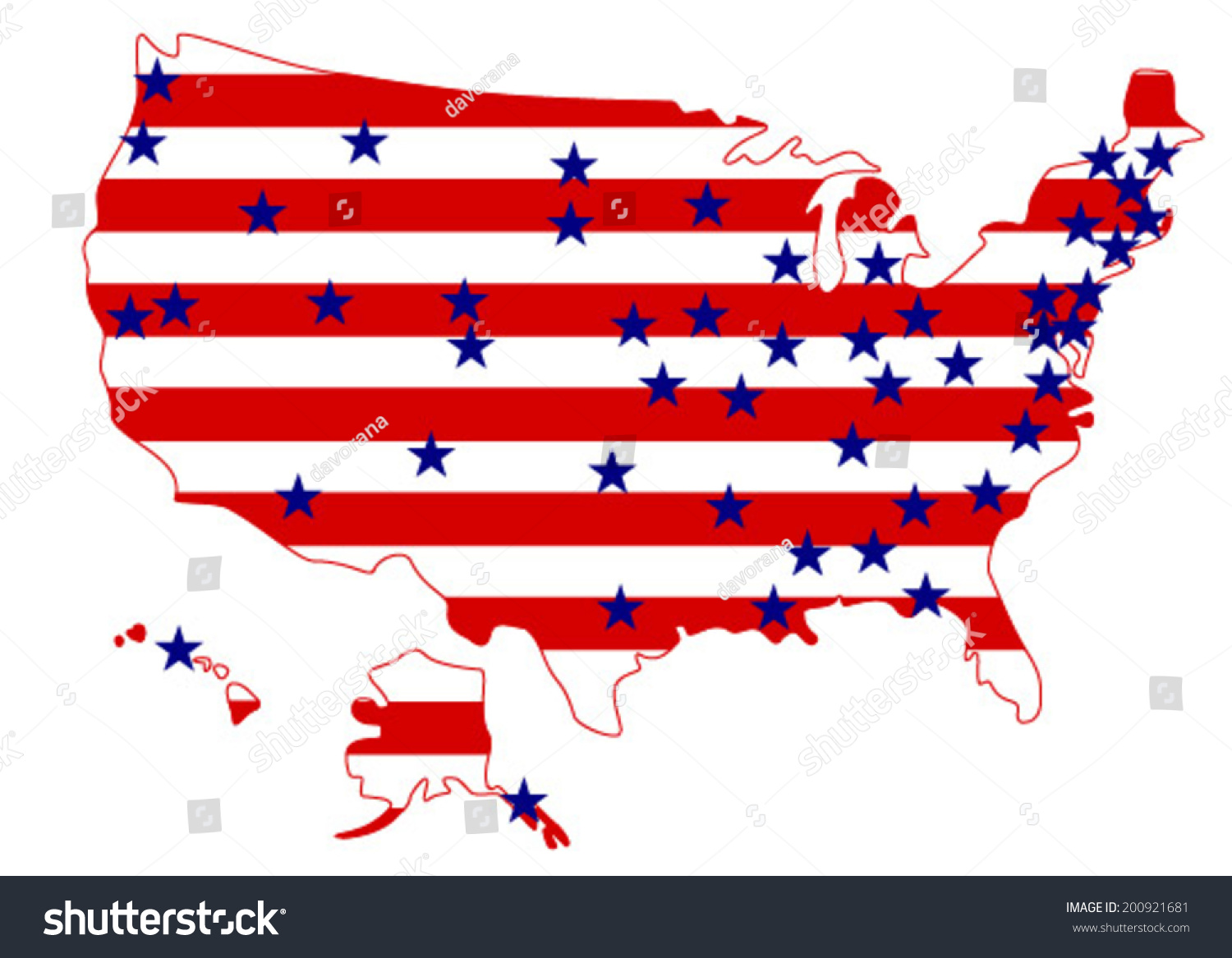 Usa Flag Color United States America Stock Vector - Us map color