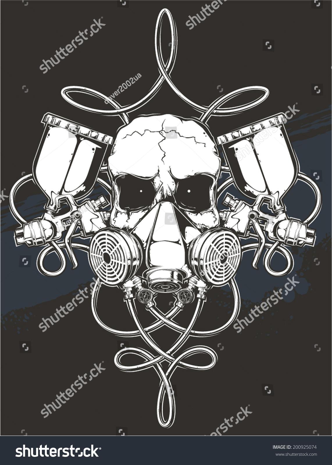 Skull Spray Gun Stock Vector 200925074 Shutterstock