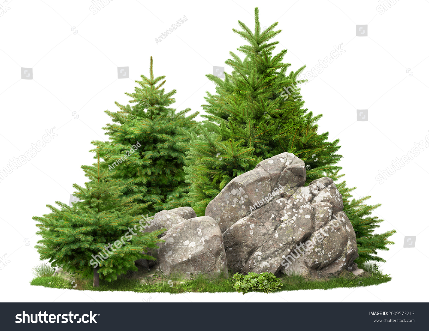 Cutout rock surrounded by fir trees. Garden design isolated on white background. Decorative shrub for landscaping. High quality clipping mask for professionnal composition #2009573213