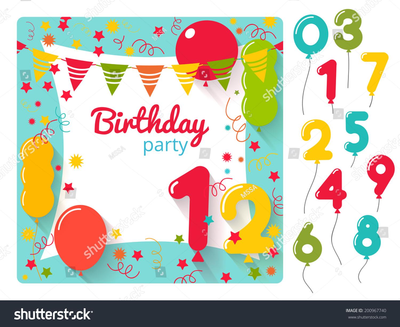 vector birthday party invitation card design stock vector 200967740 shutterstock. Black Bedroom Furniture Sets. Home Design Ideas