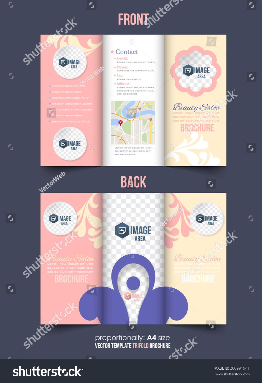 Tri fold brochure beauty salon and catalog vector design for Beauty brochure templates