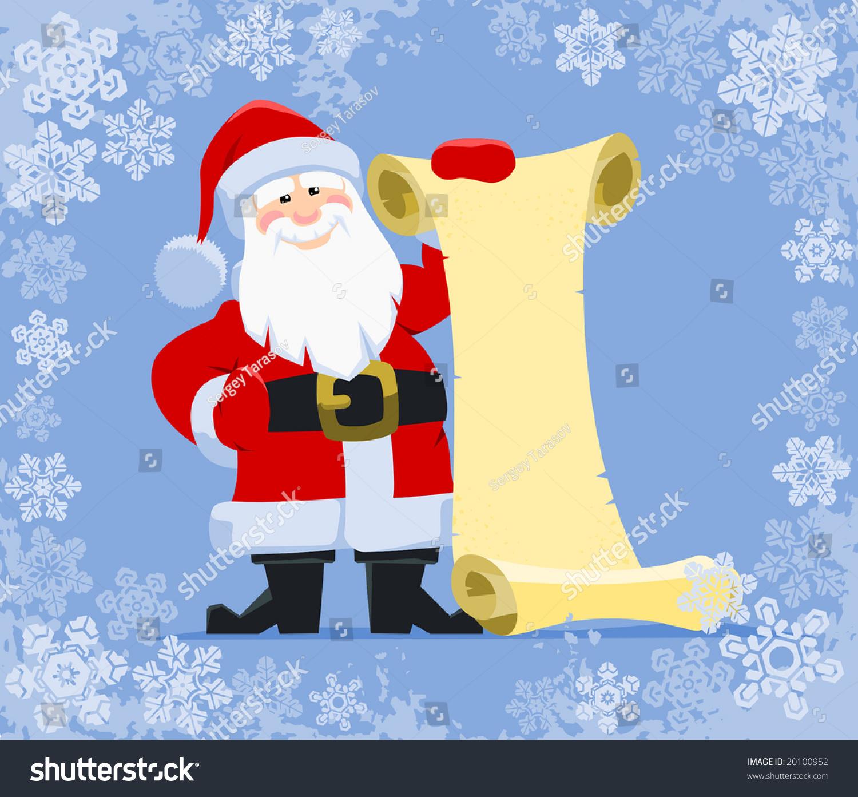 SantaS Wish List Santa Claus Holding Blank Paper Scroll – Santa Wish Lists