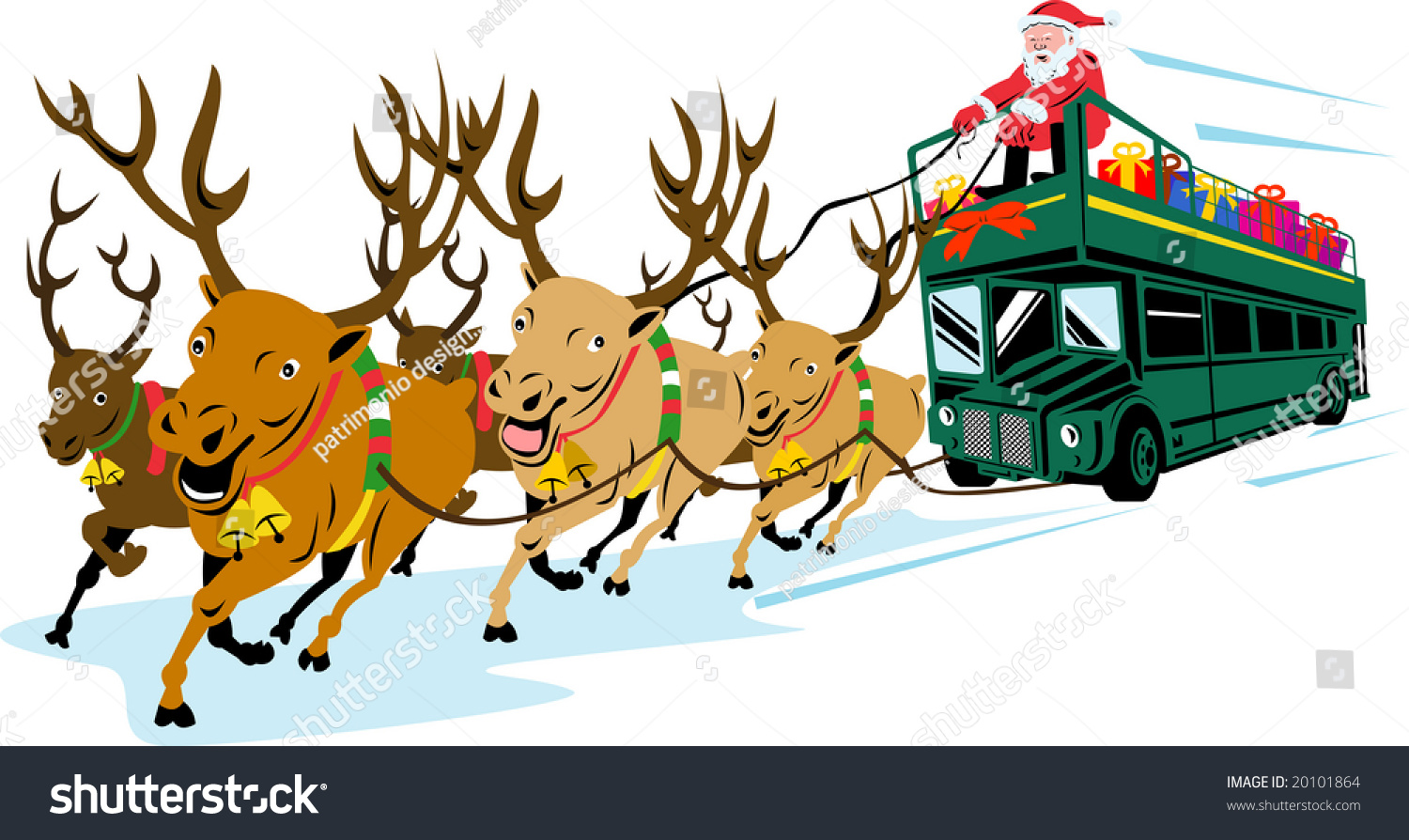 santa claus with reindeer pulling a london double decker bus stock