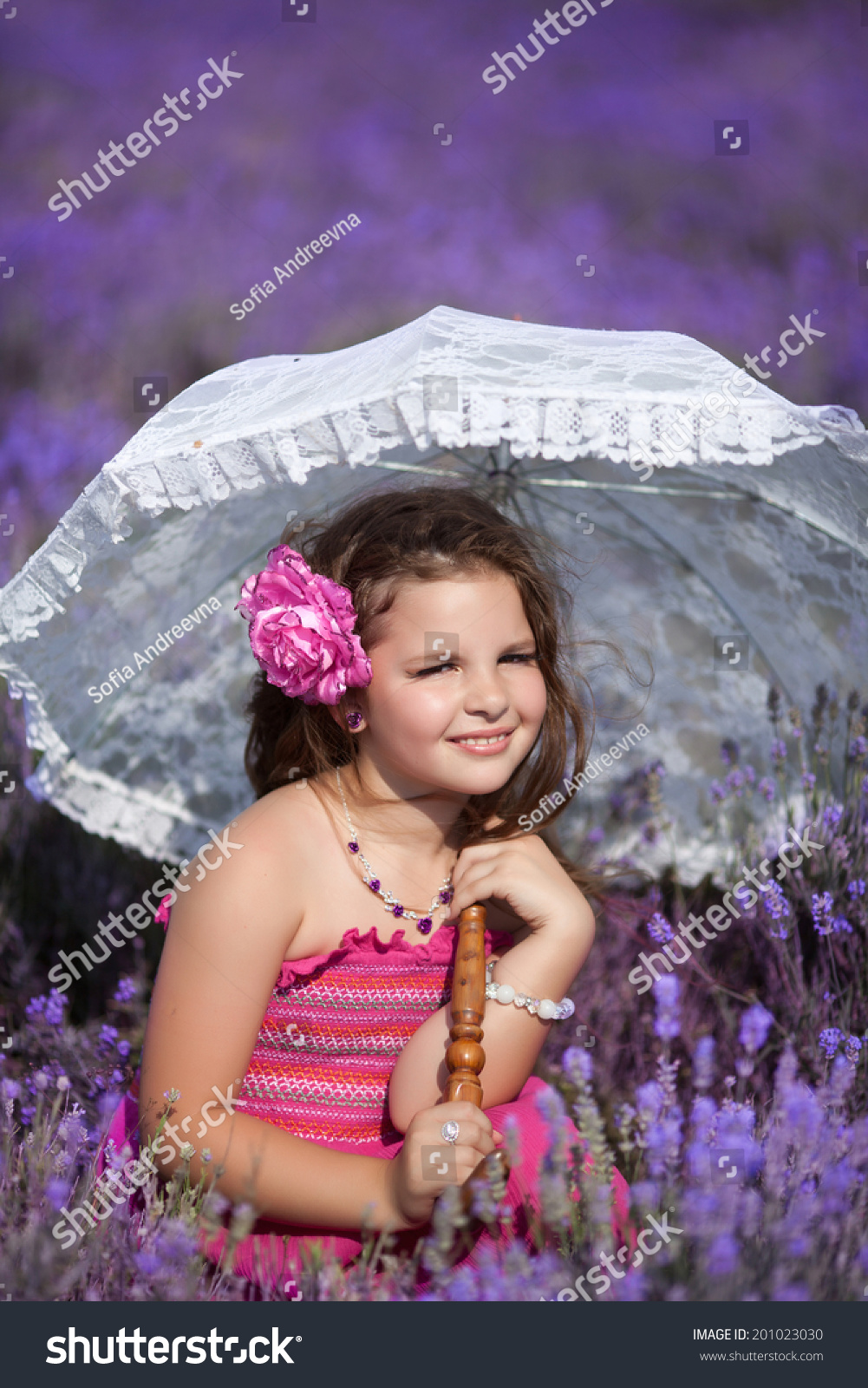 cute little girl lavender field child stock photo (safe to use