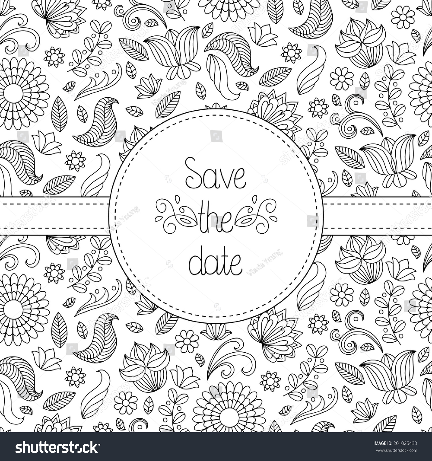 Black white vector wedding invitation card stock vector 201025430 black and white vector wedding invitation card in floral frame and text save the date stopboris Image collections