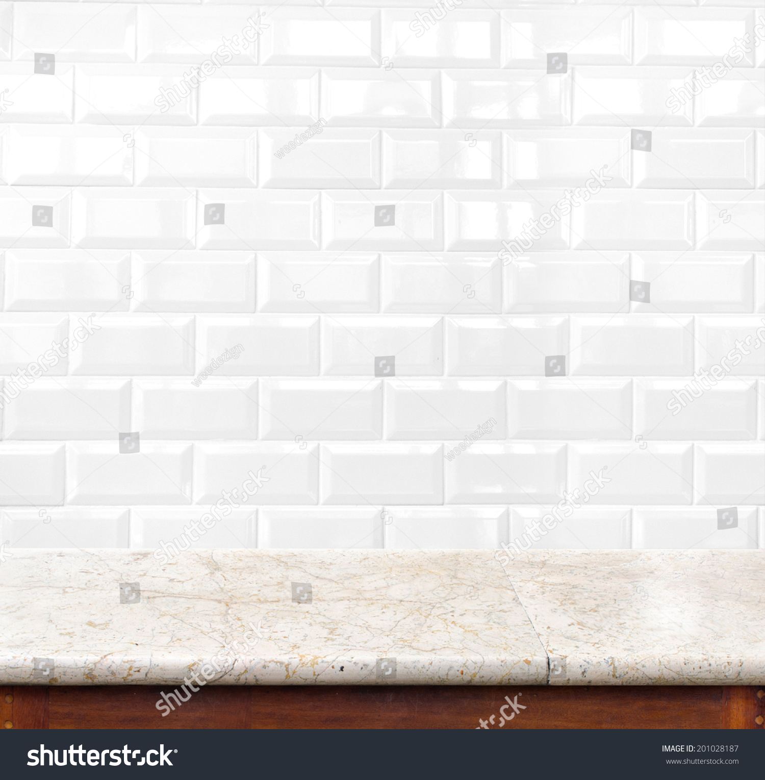 Marble table ceramic tile brick wall stock photo 201028187 marble table and ceramic tile brick wall in background product display template dailygadgetfo Gallery